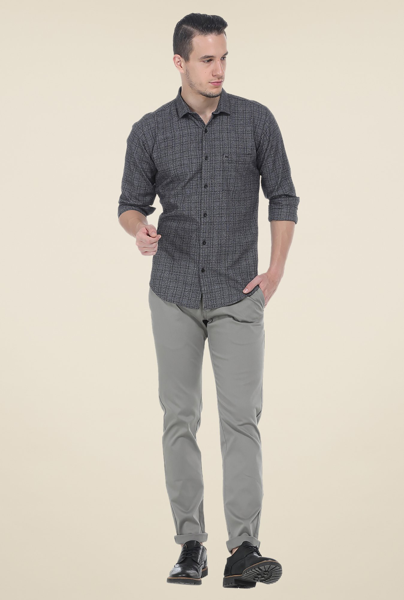 Basics Dark Grey Checks Shirt