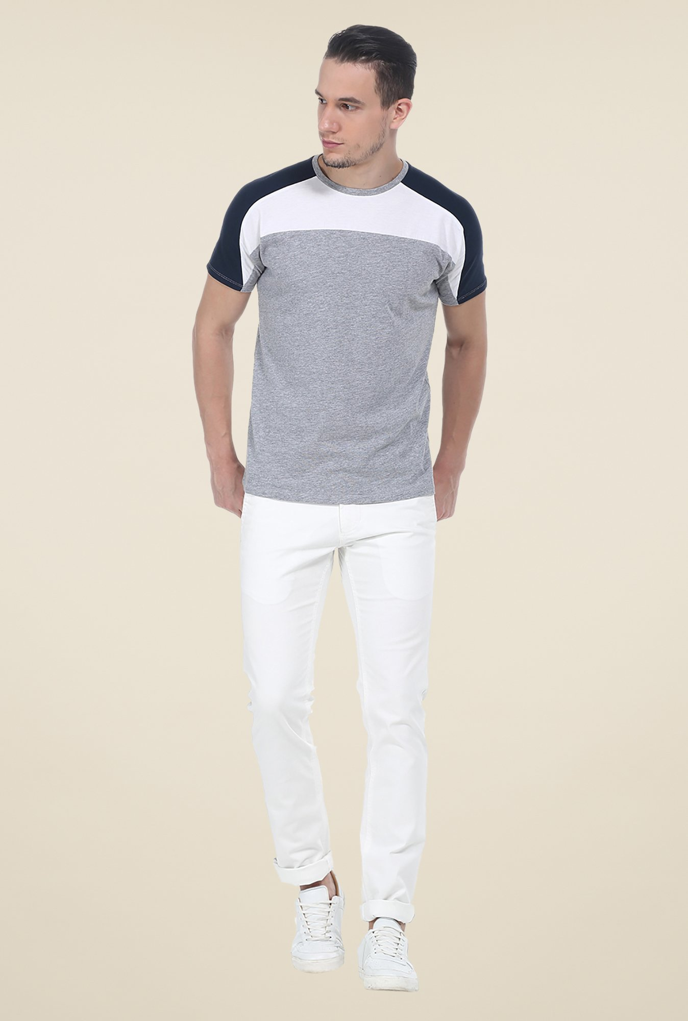 Basics Light Grey Crew T Shirt