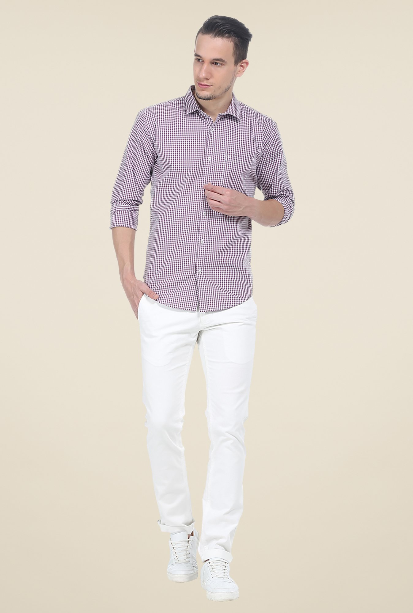 Basics Purple Checks Cotton Shirt