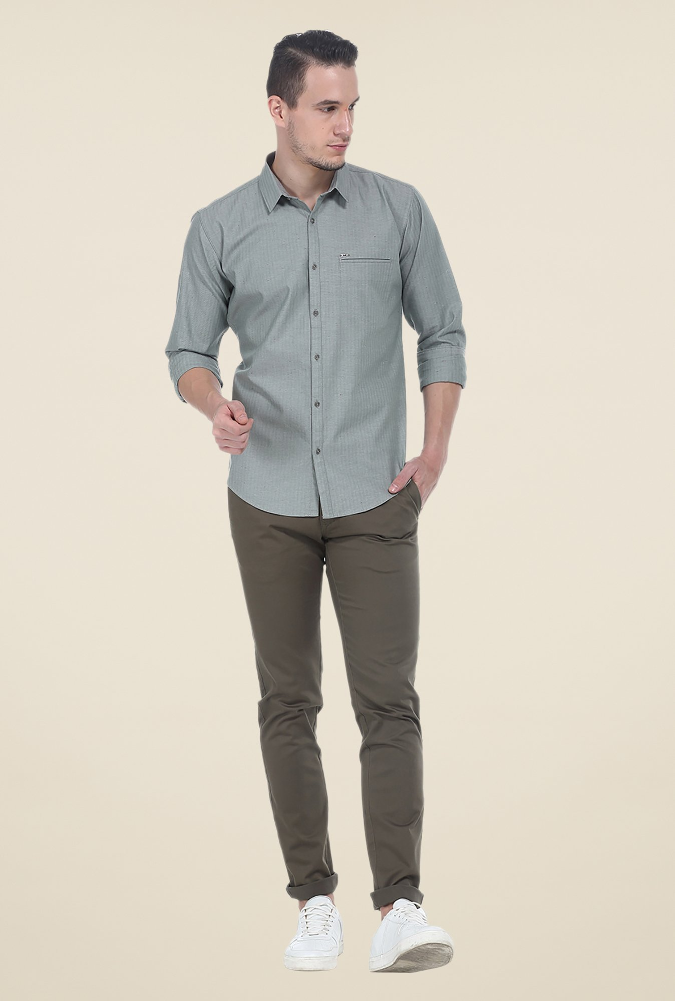 Basics Grey Striped Shirt