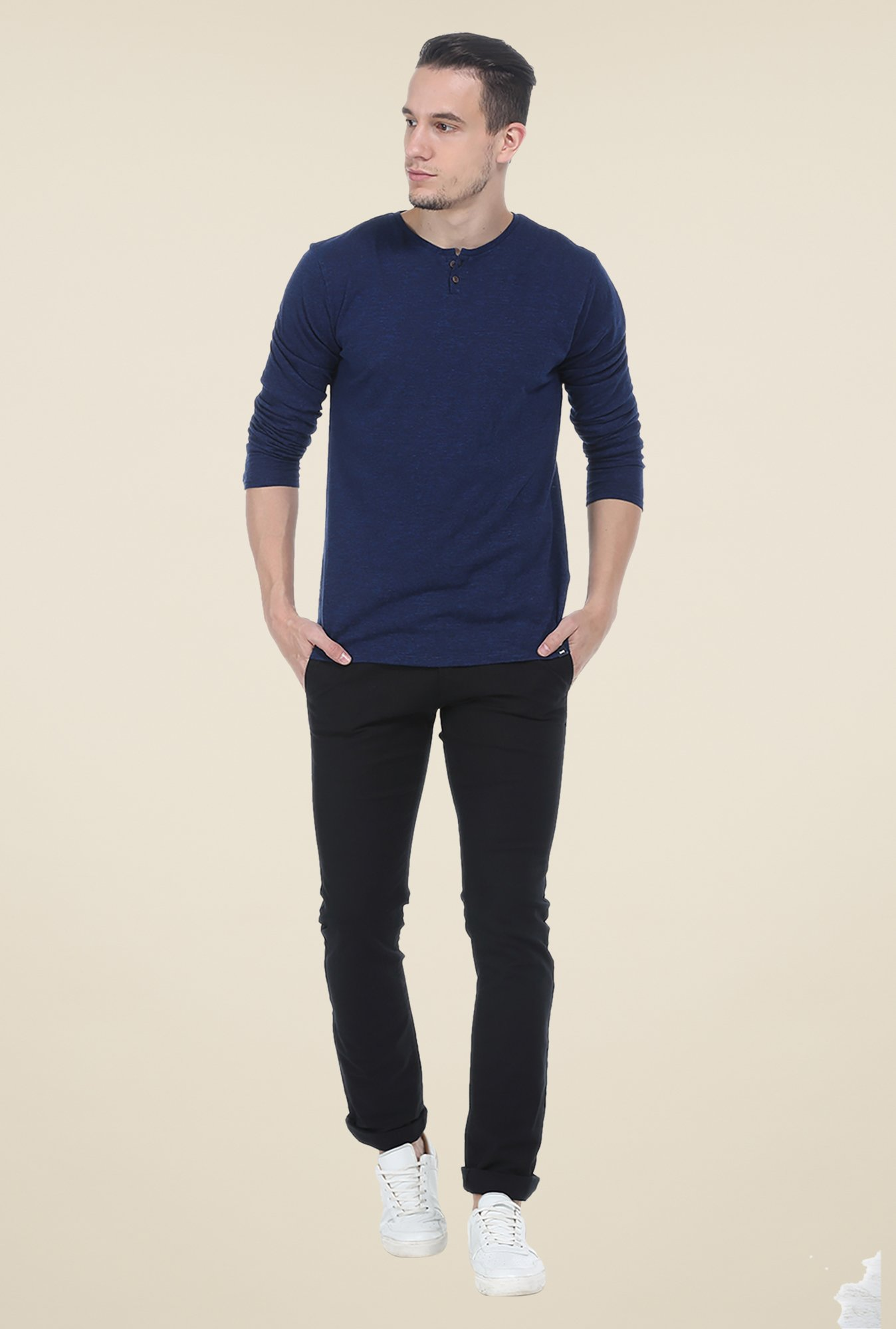 Basics Navy Textured T Shirt