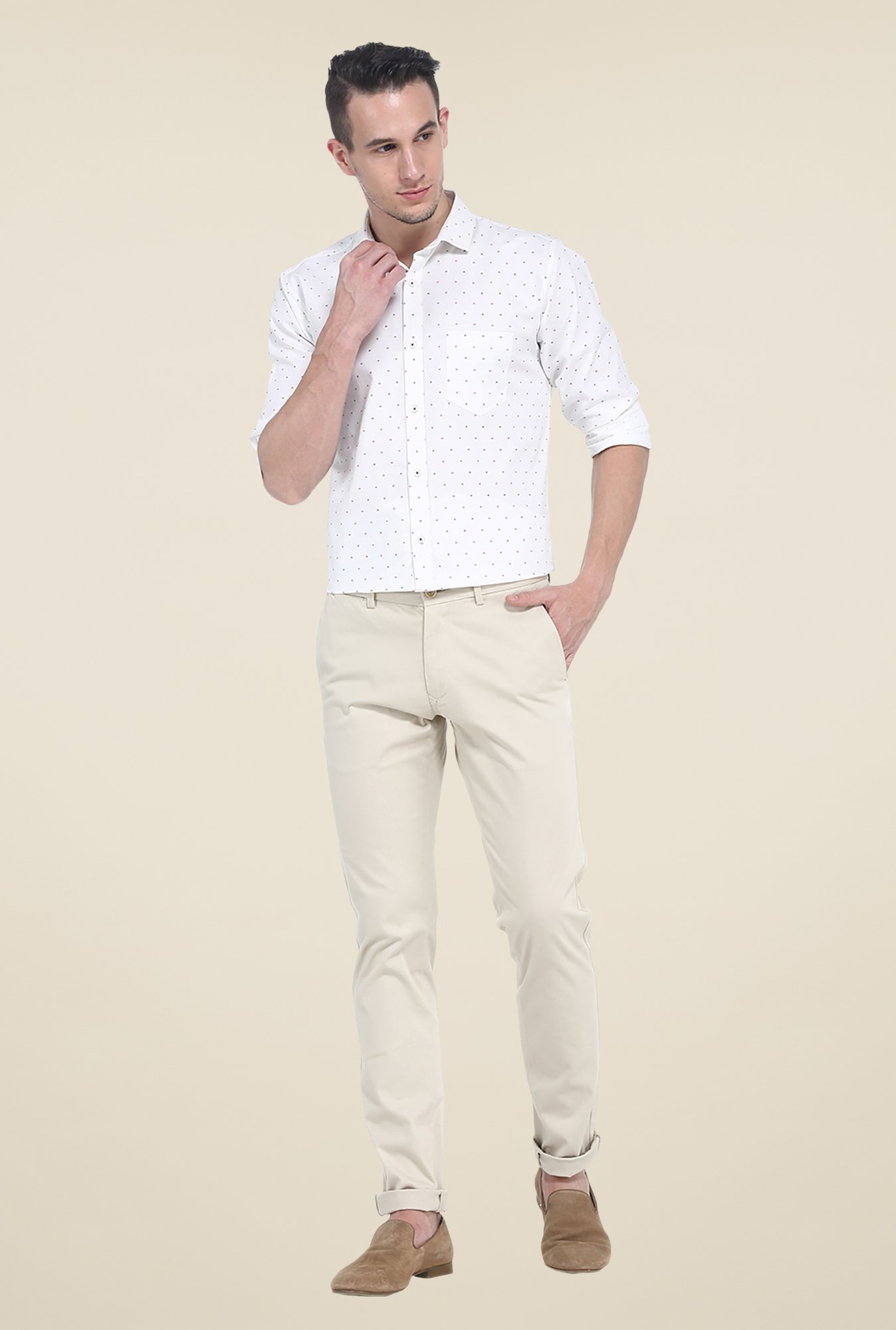 Basics Ecru Solid Elastane Tapered Fit Chinos