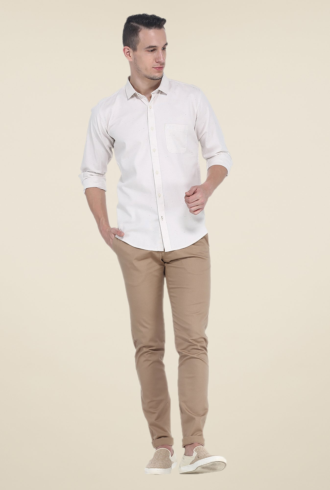 Basics Beige Textured Elastane Tapered Fit Chinos