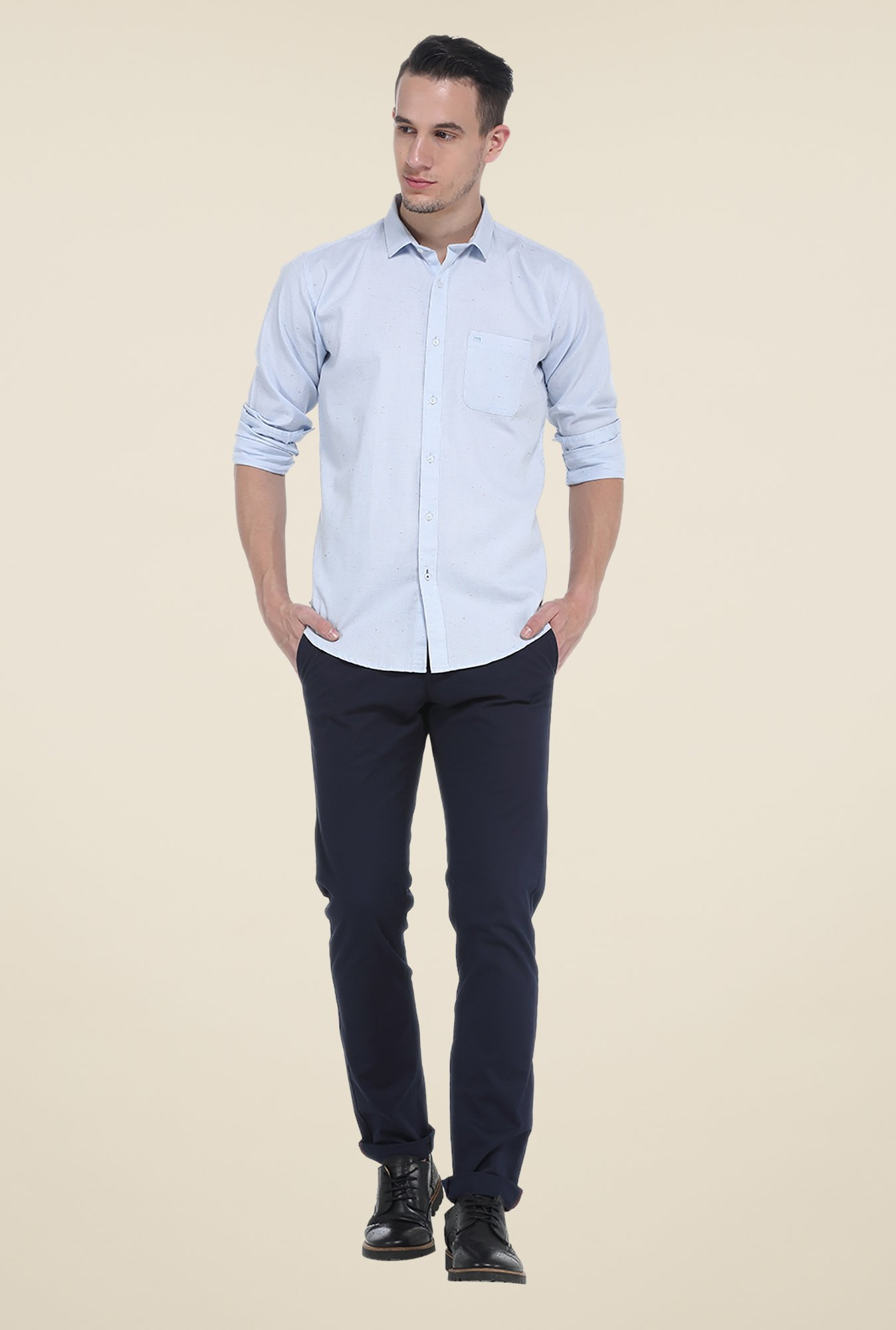 Basics Blue Textured Slim Fit Shirt