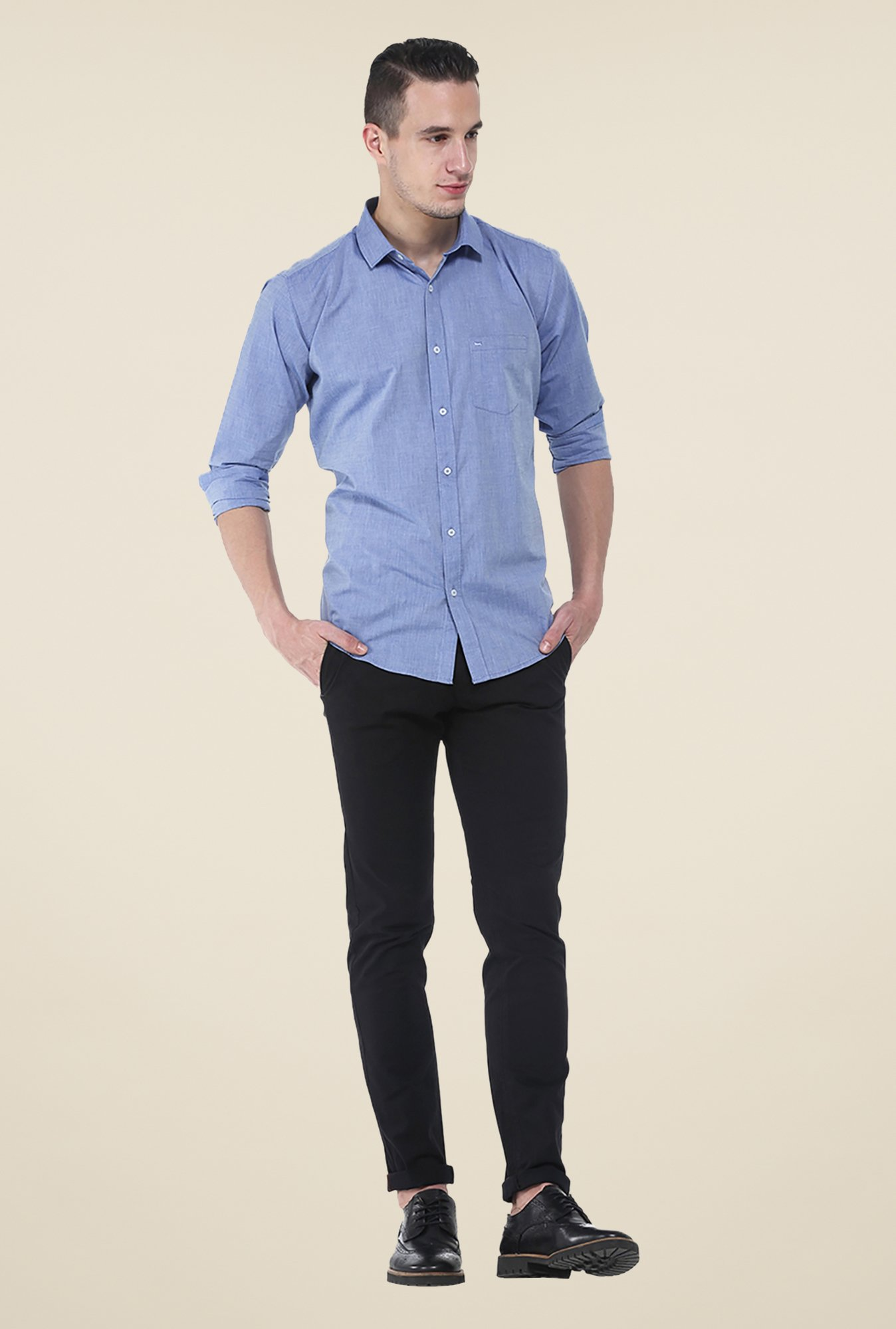 Basics Blue Textured Slim Fit Cotton Shirt