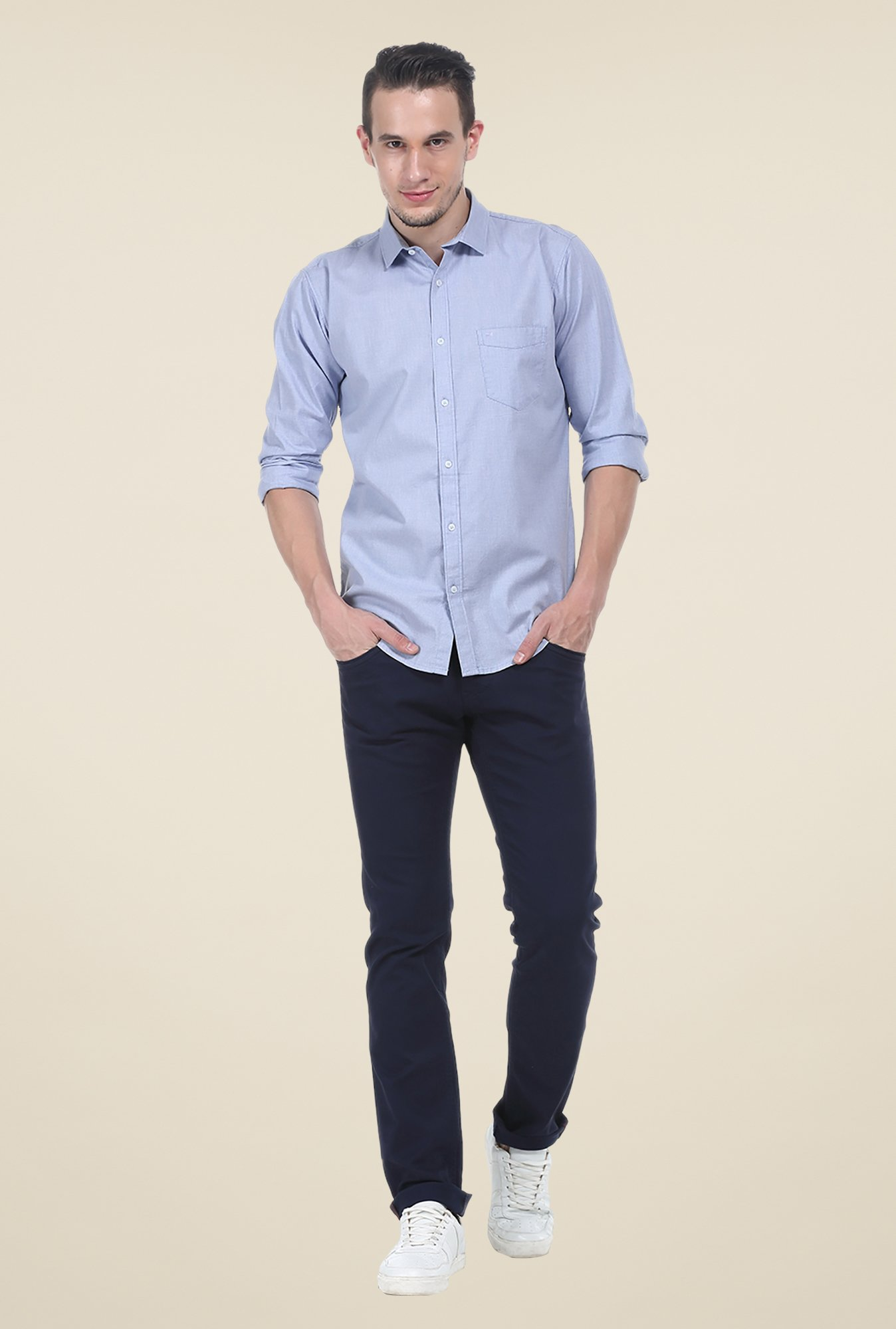 Basics Blue Textured Full Sleeve Cotton Shirt