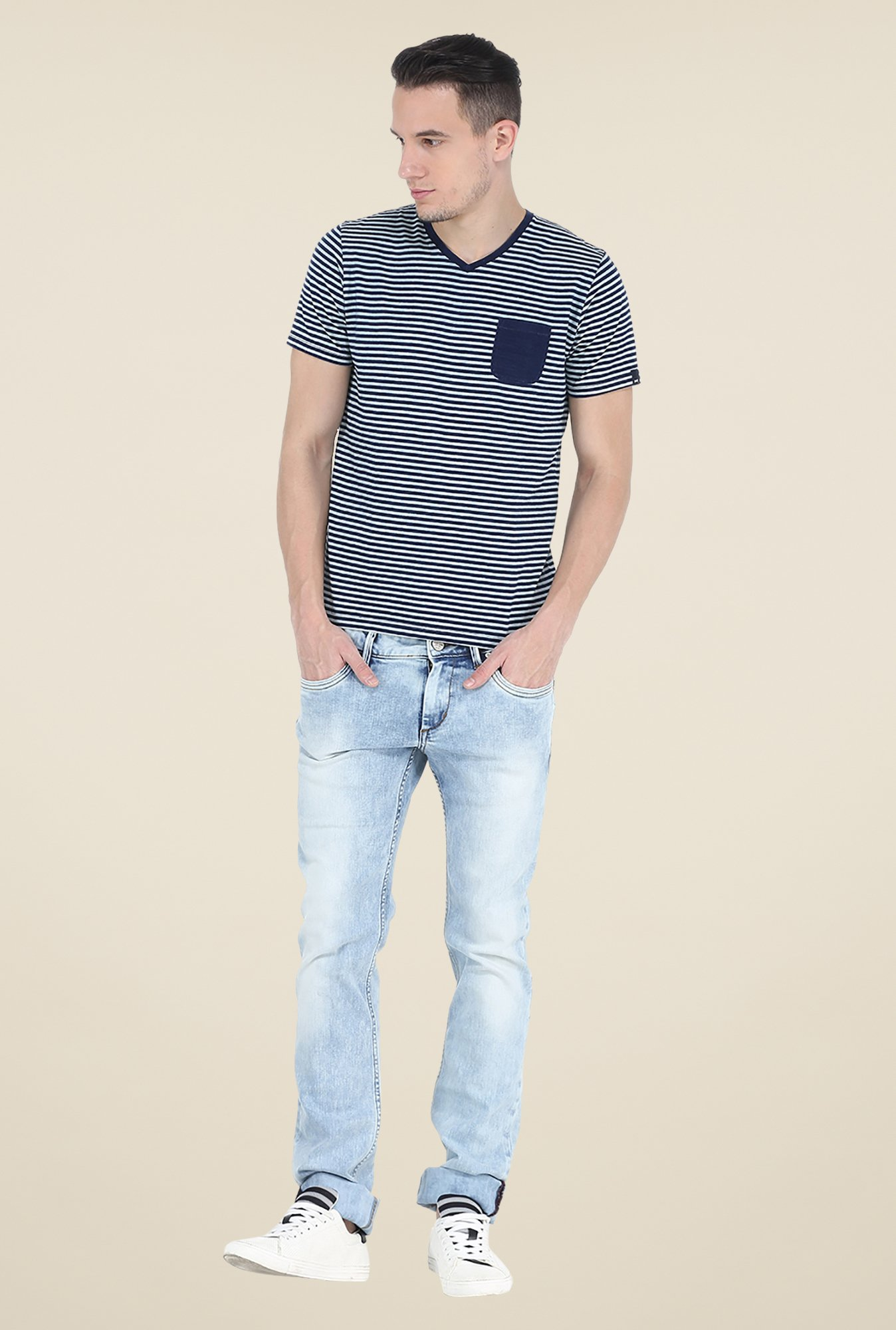 Basics Blue Striped T Shirt