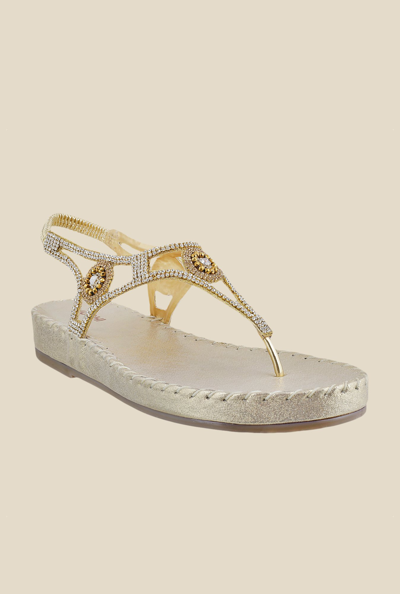 Mochi Golden Sling Back Sandals