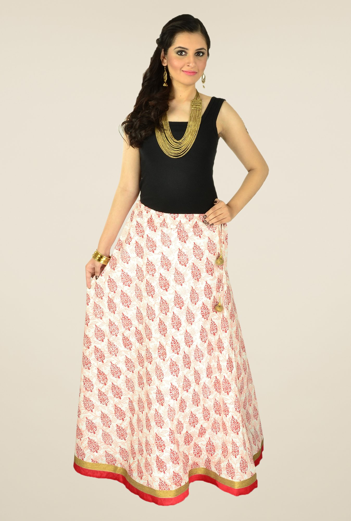 9rasa White Printed Skirt
