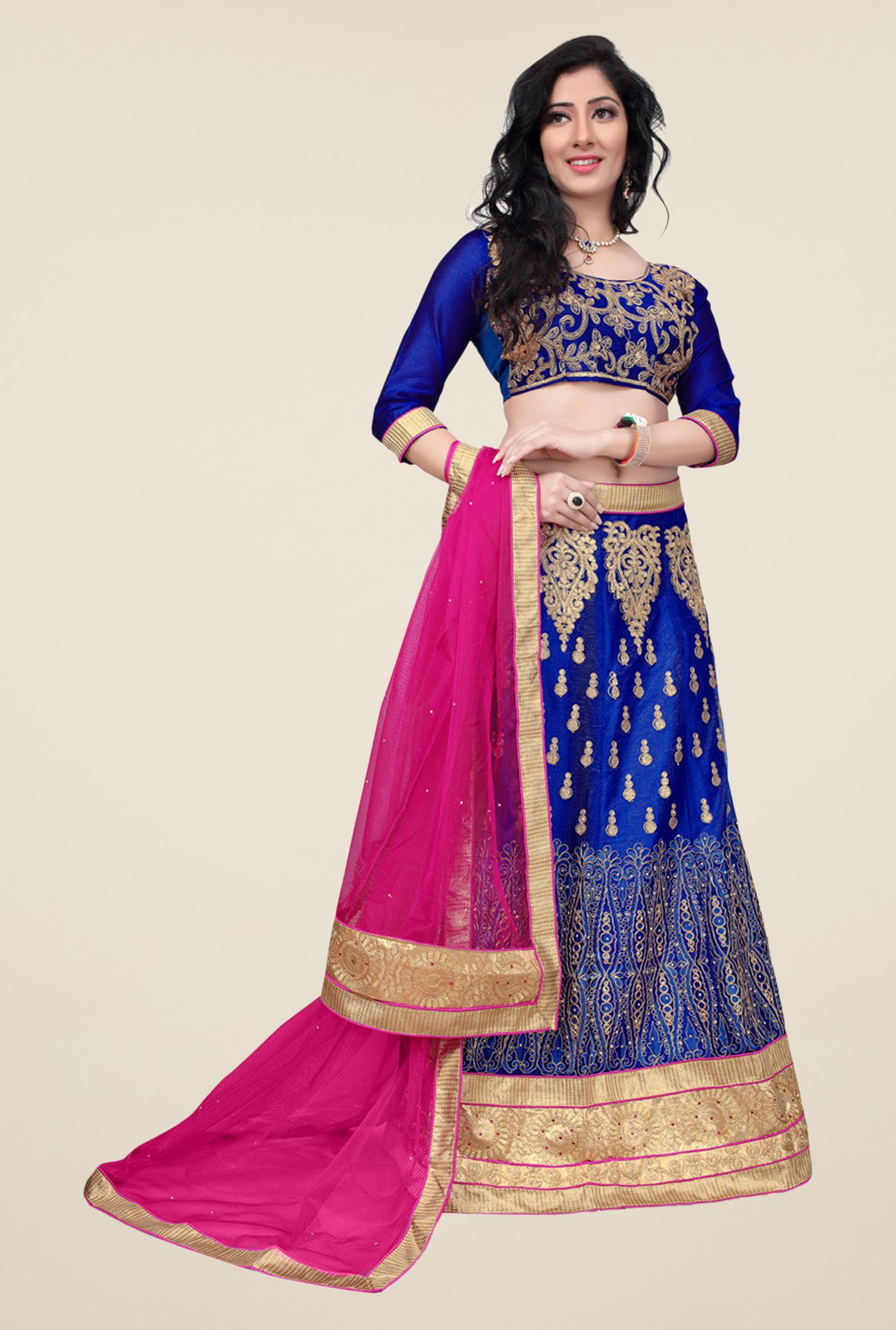 Occeanus Blue Embroidered Net Semi Stitched Lehenga Set