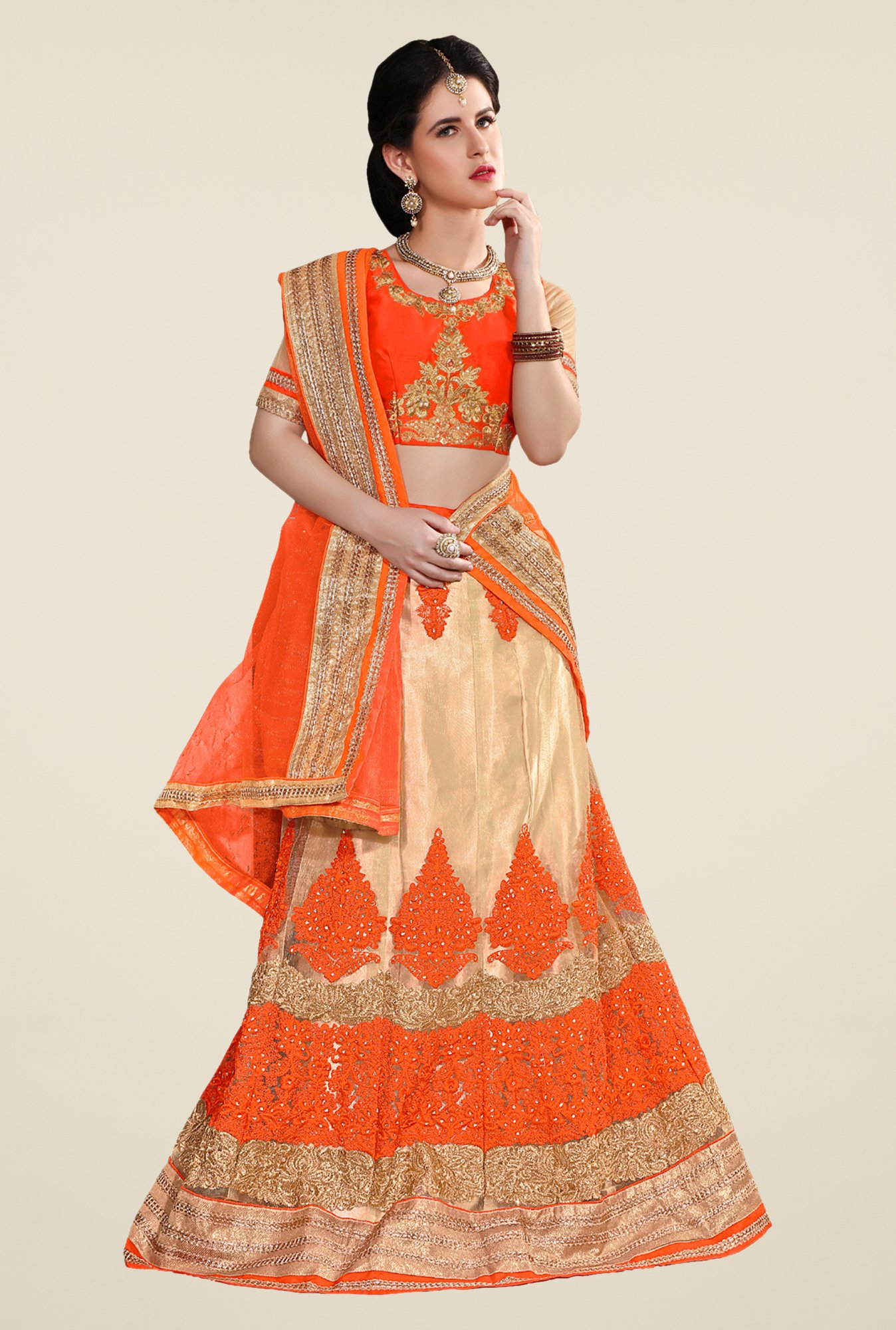 Occeanus Orange & Beige Semi Stitched Lehenga Set