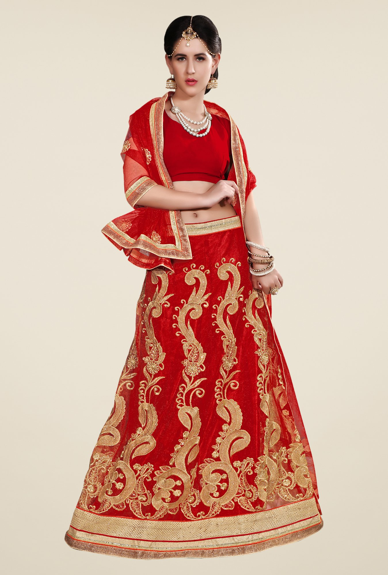 Occeanus Red Net Semi Stitched Lehenga Set