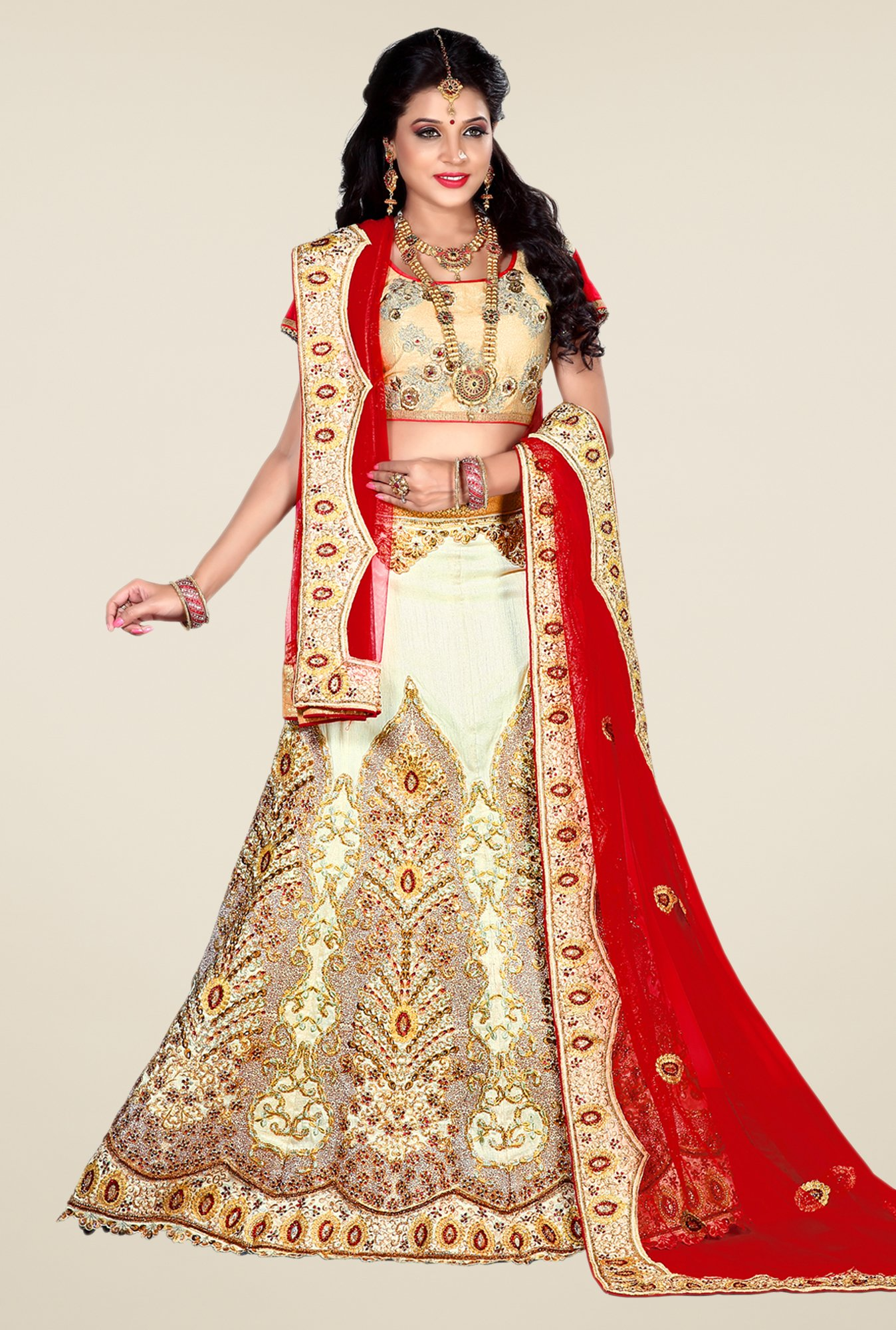Occeanus Gold Georgette Lehenga Set