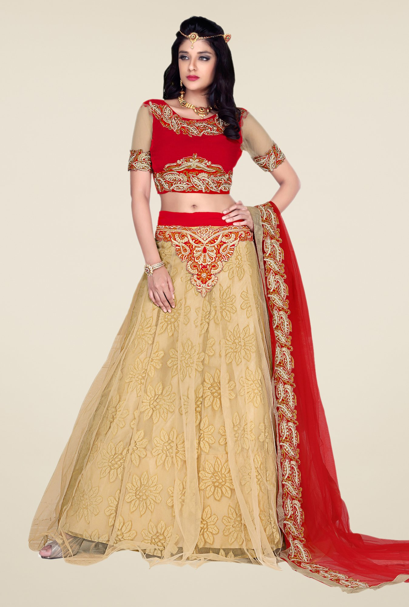 Occeanus Red & Beige Embroidered Net Lehenga Set
