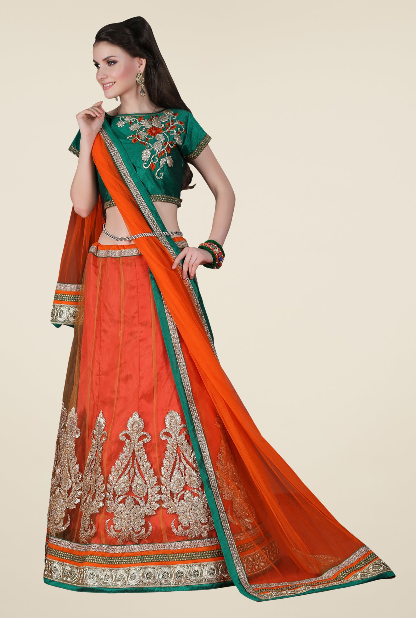 Occeanus Green & Orange Embroidered Net Lehenga Set