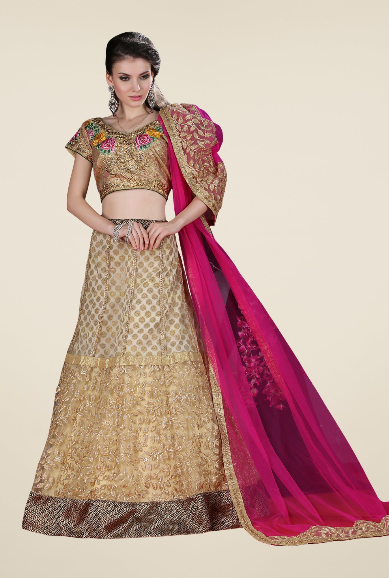 Occeanus Gold Embroidered Georgette Lehenga Set