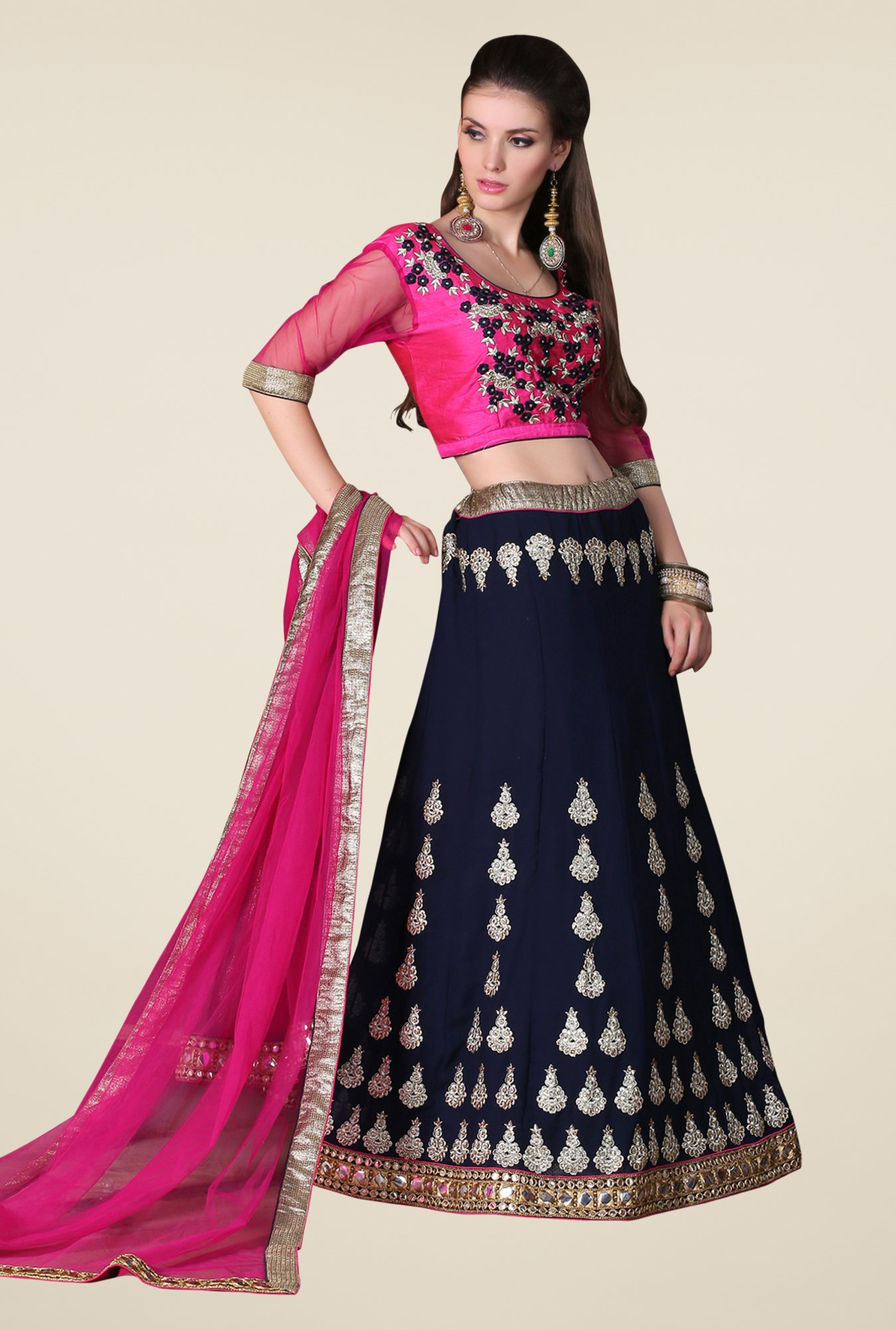 Occeanus Pink & Navy Embroidered Net Designer Lehenga Set