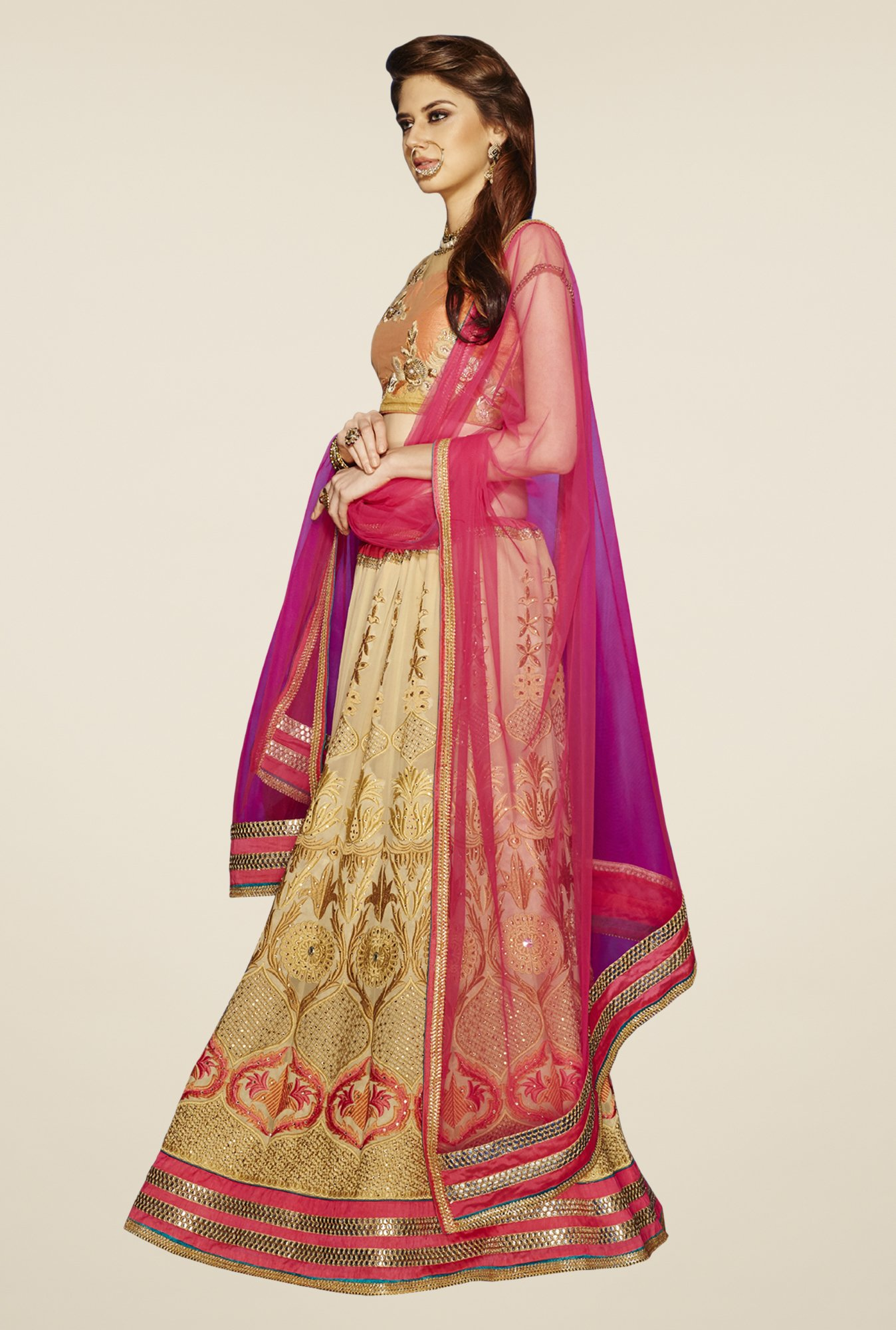 Occeanus Peach & Beige Embroidered Georgette Lehenga Set