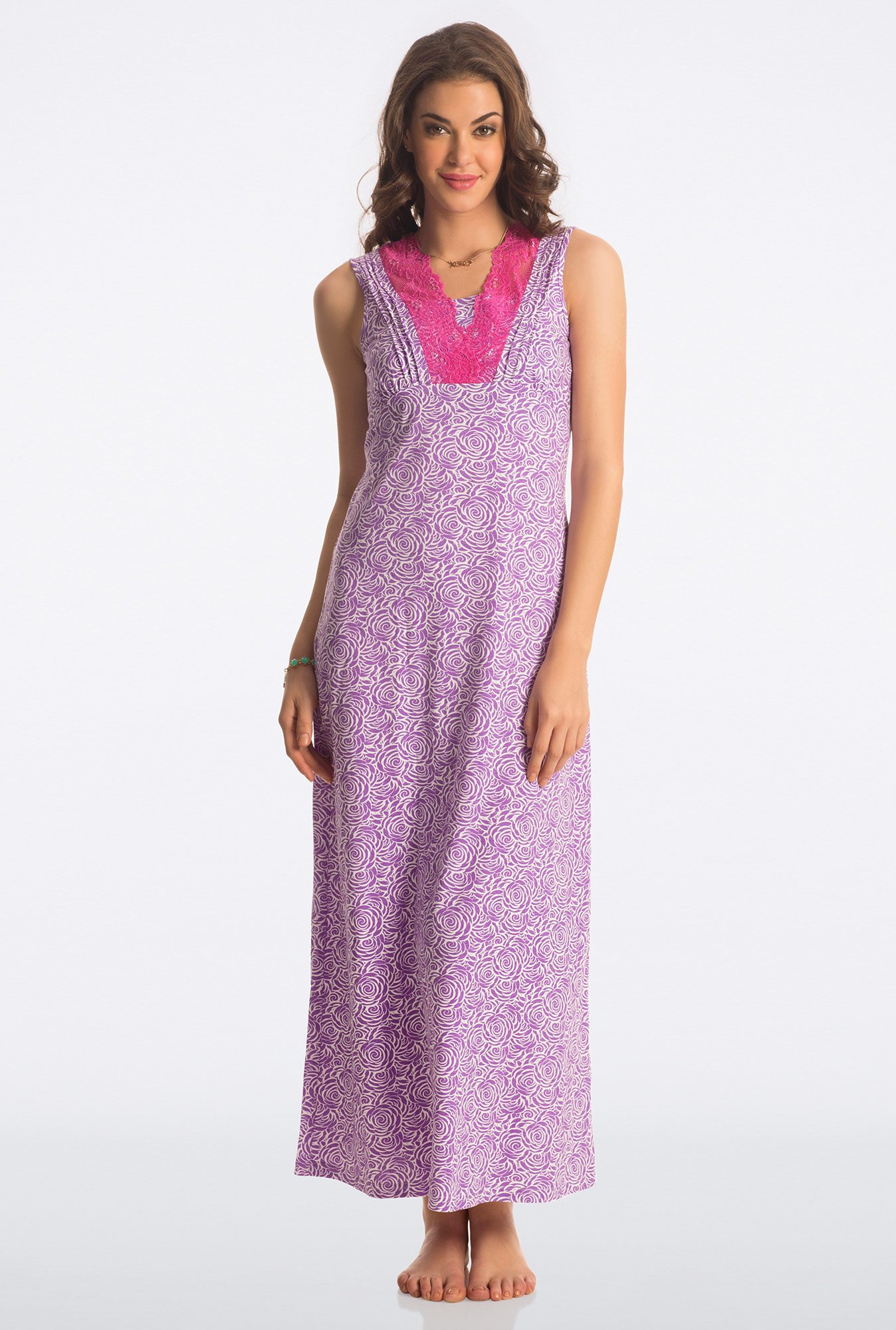 PrettySecrets Purple Floral Print Night Gown