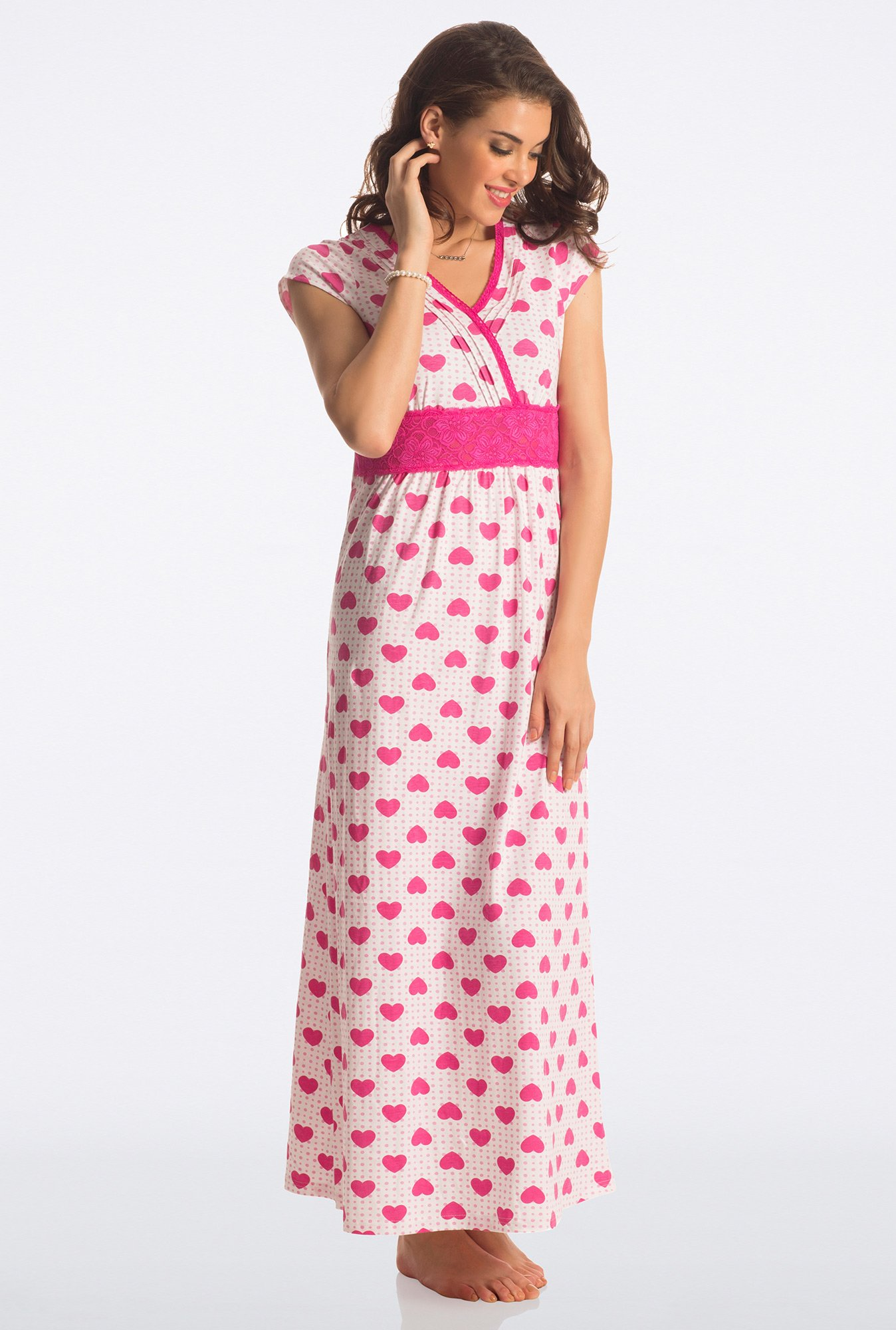 PrettySecrets Pink Heart Print Night Gown