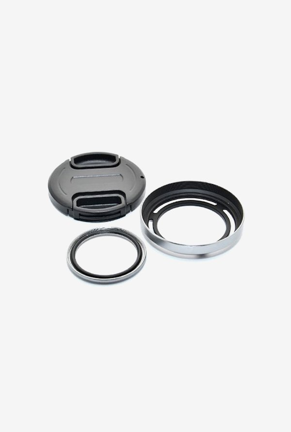 JJC LH-X20GS Lens Hood Shade and Lens Adapter (Black/Silver)