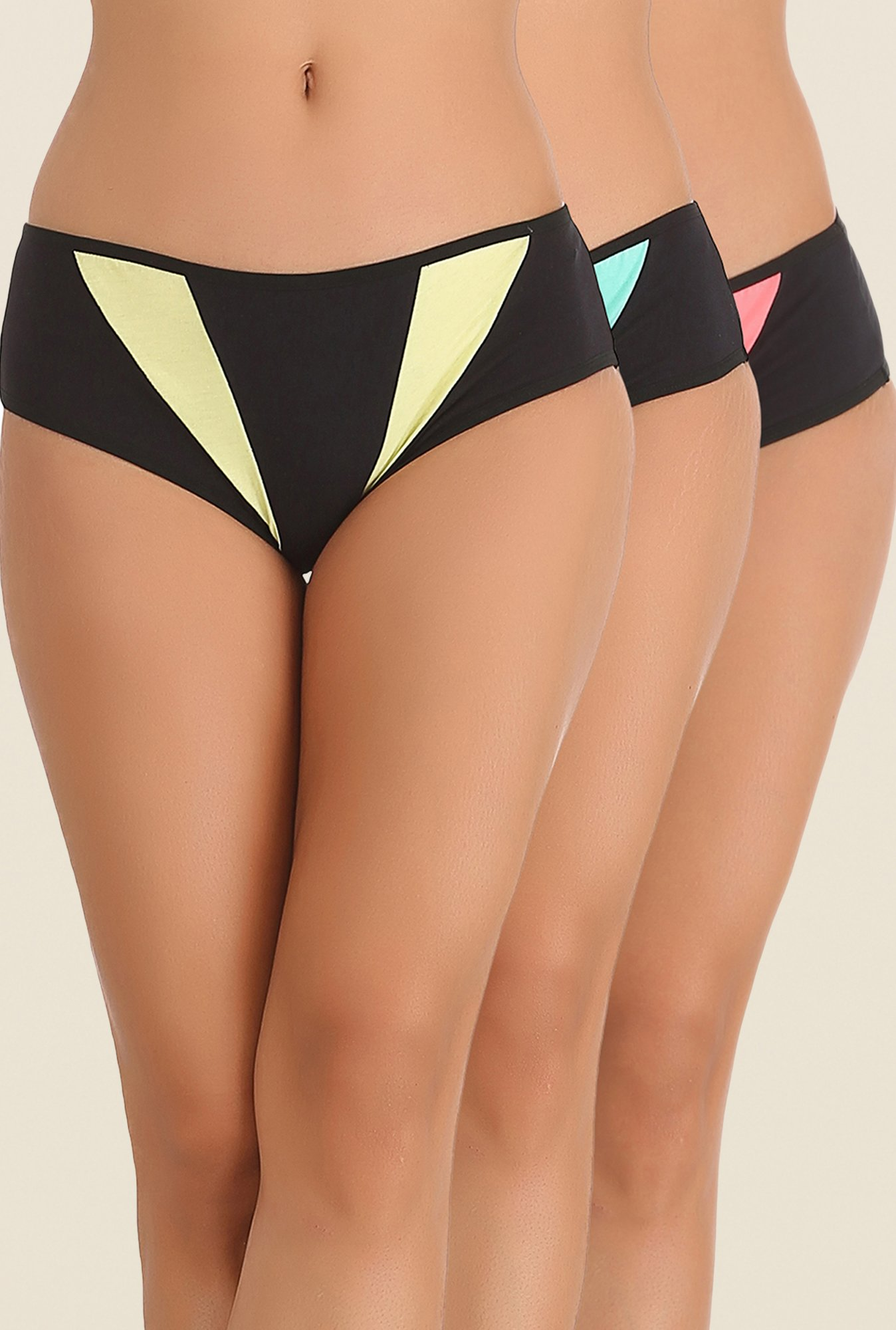 Clovia Yellow, Blue & Pink Solid Hipster Panty (Pack of 3)
