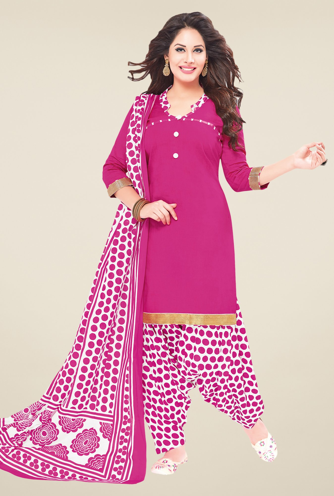 Salwar Studio Pink & White Polka Dots Dress Material