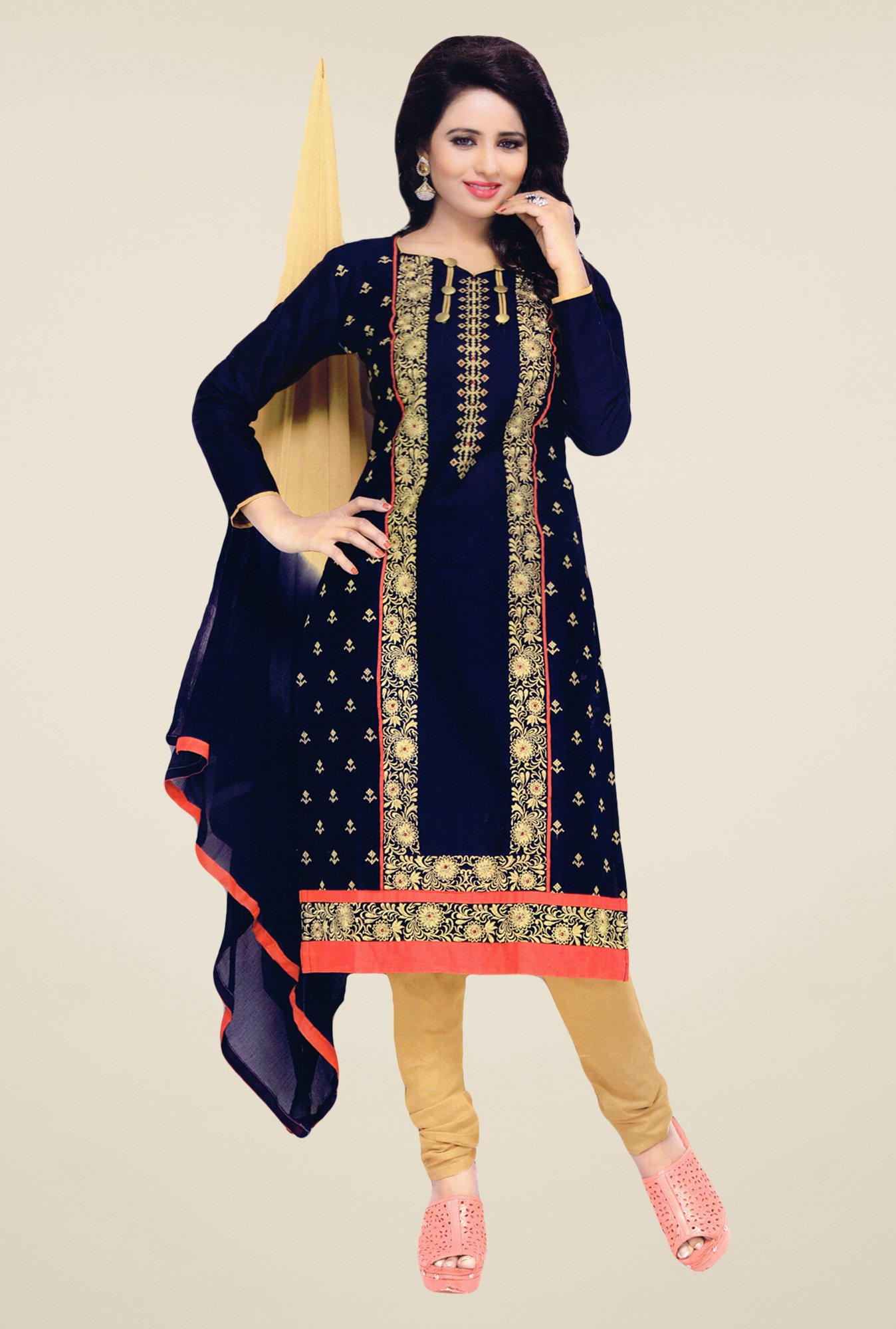 Salwar Studio Navy & Beige Embroidered Dress Material