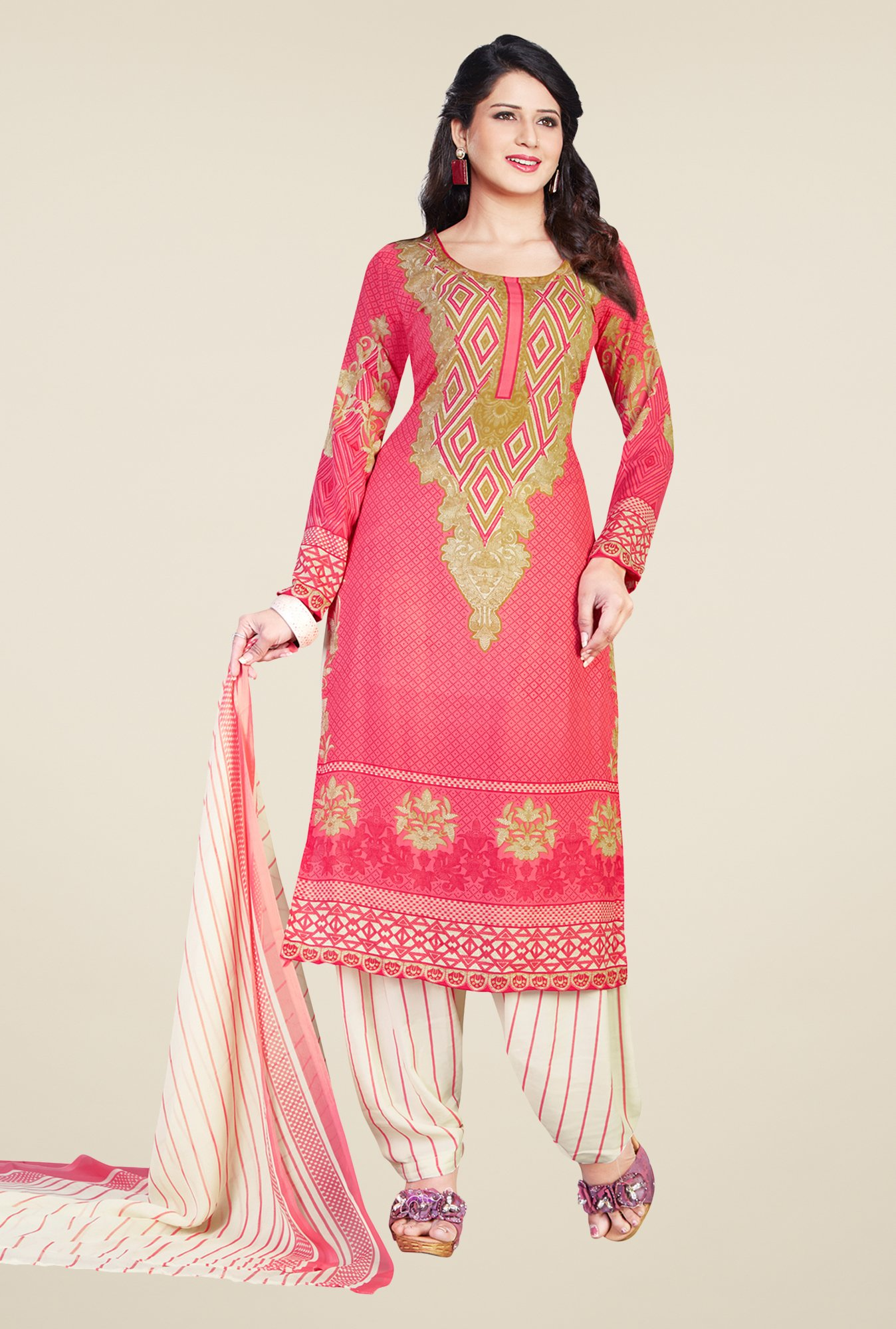 Salwar Studio Coral & Cream Printed Dress Material