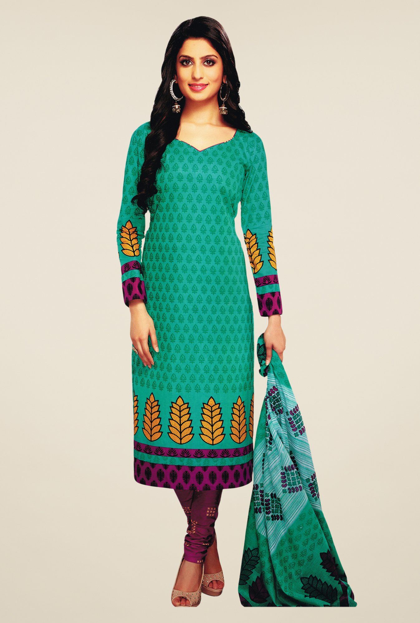 Salwar Studio Teal & Purple Printed Dress Material