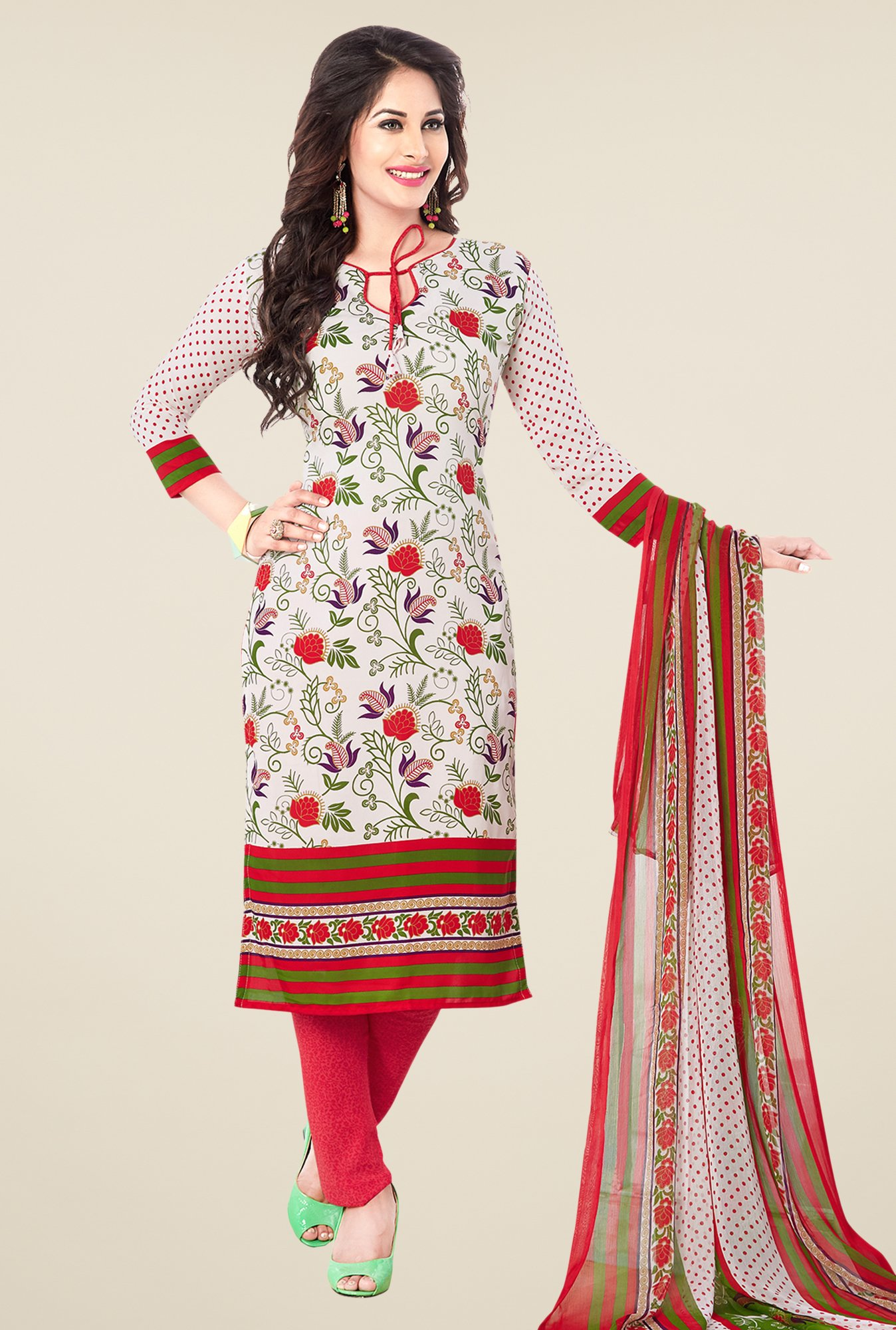 Salwar Studio Off White & Pink Synthetic Dress Material