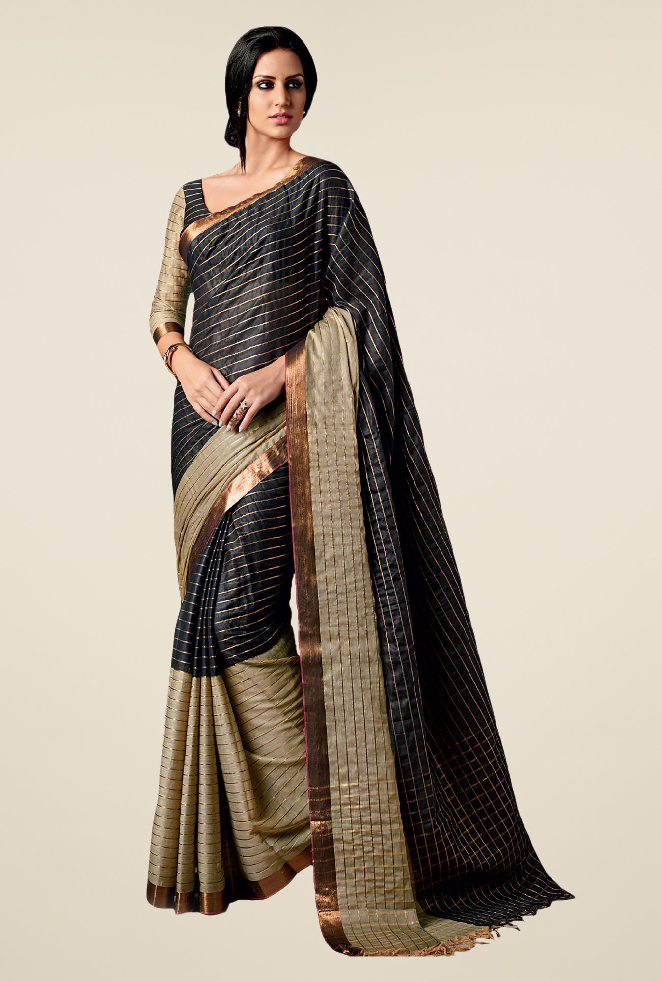 Salwar Studio Black & Beige Striped Saree