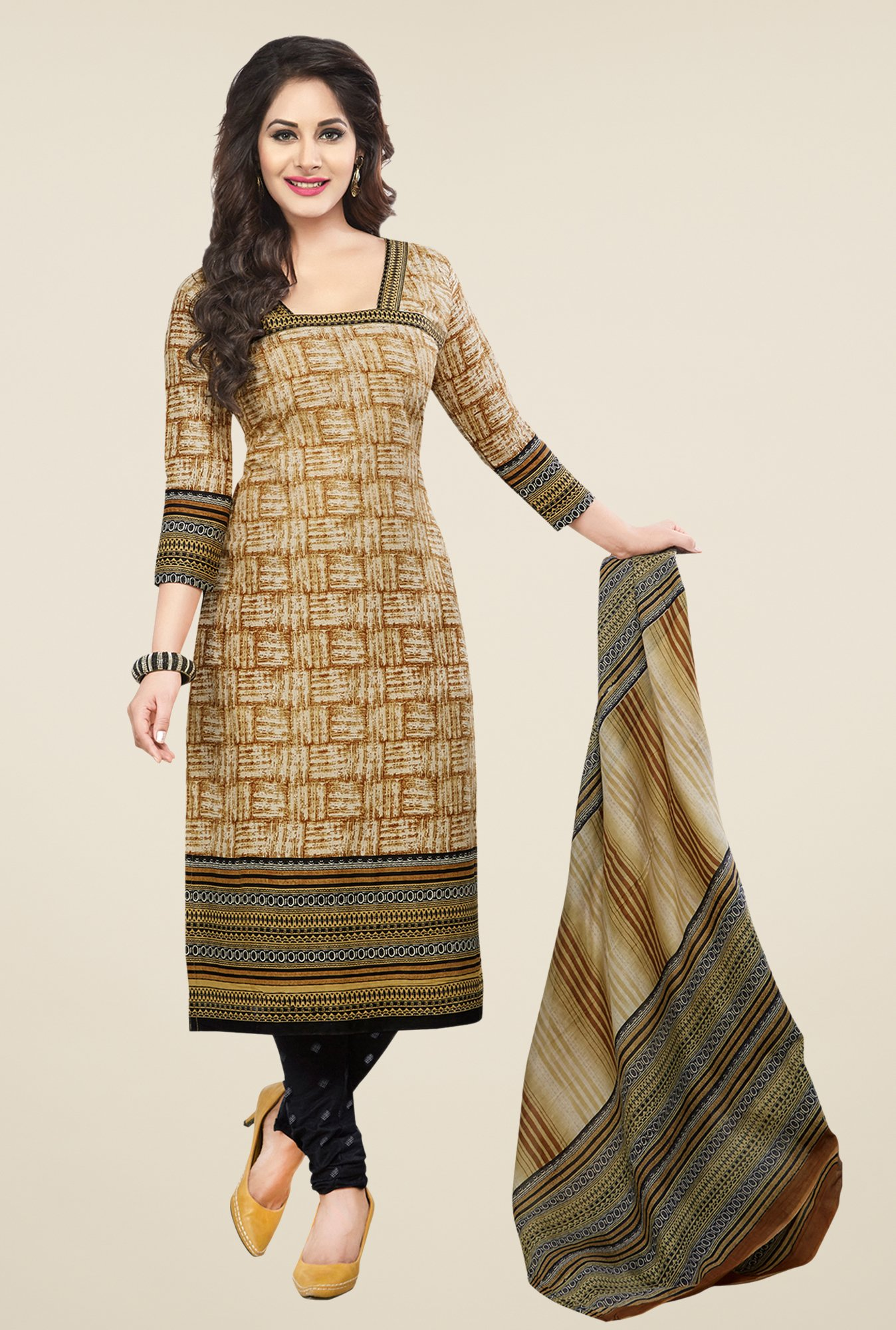 Salwar Studio Brown & Black Printed Cotton Dress Material
