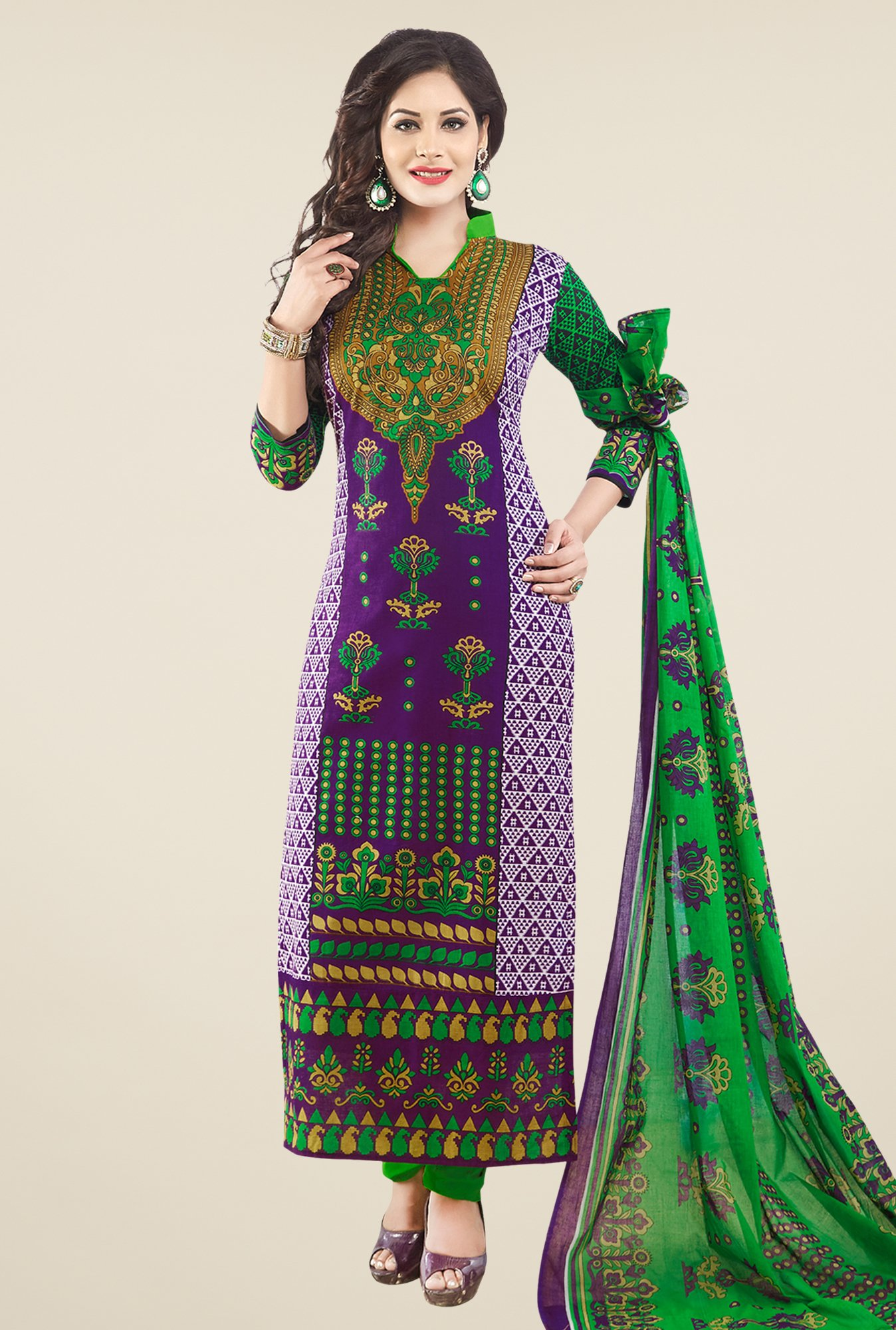 Salwar Studio Purple & Green Cotton Dress Material