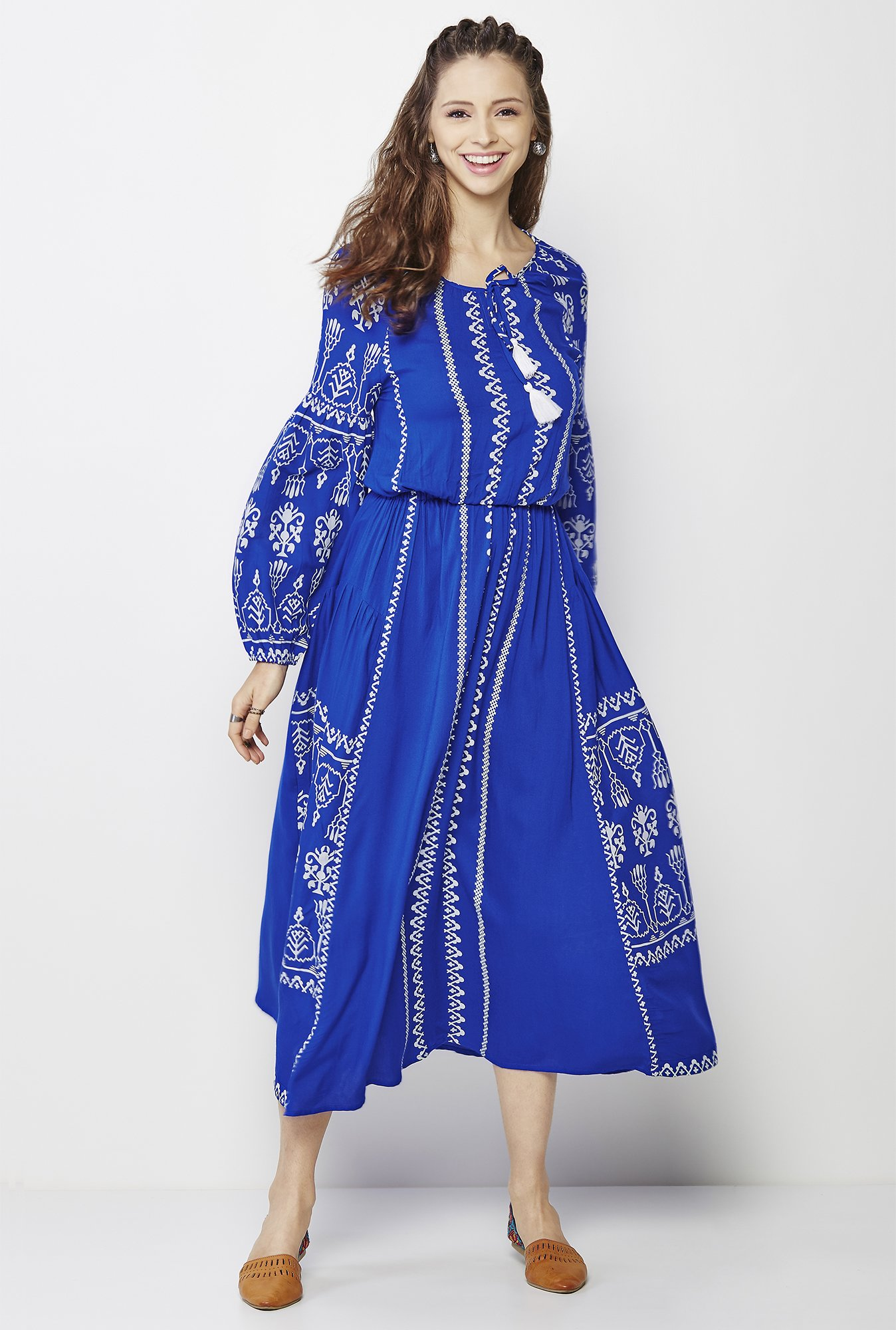 Global Desi Blue Printed Dress