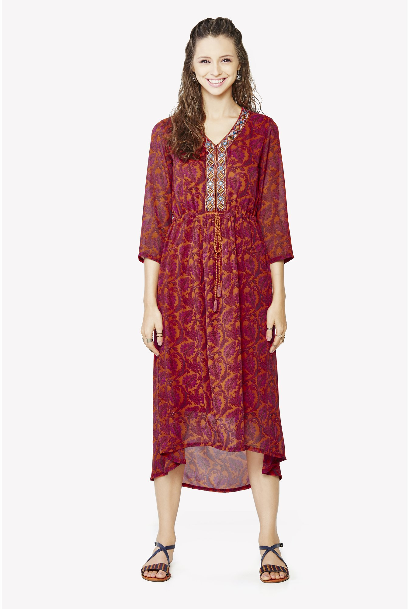 Global Desi Orange Printed Kurta