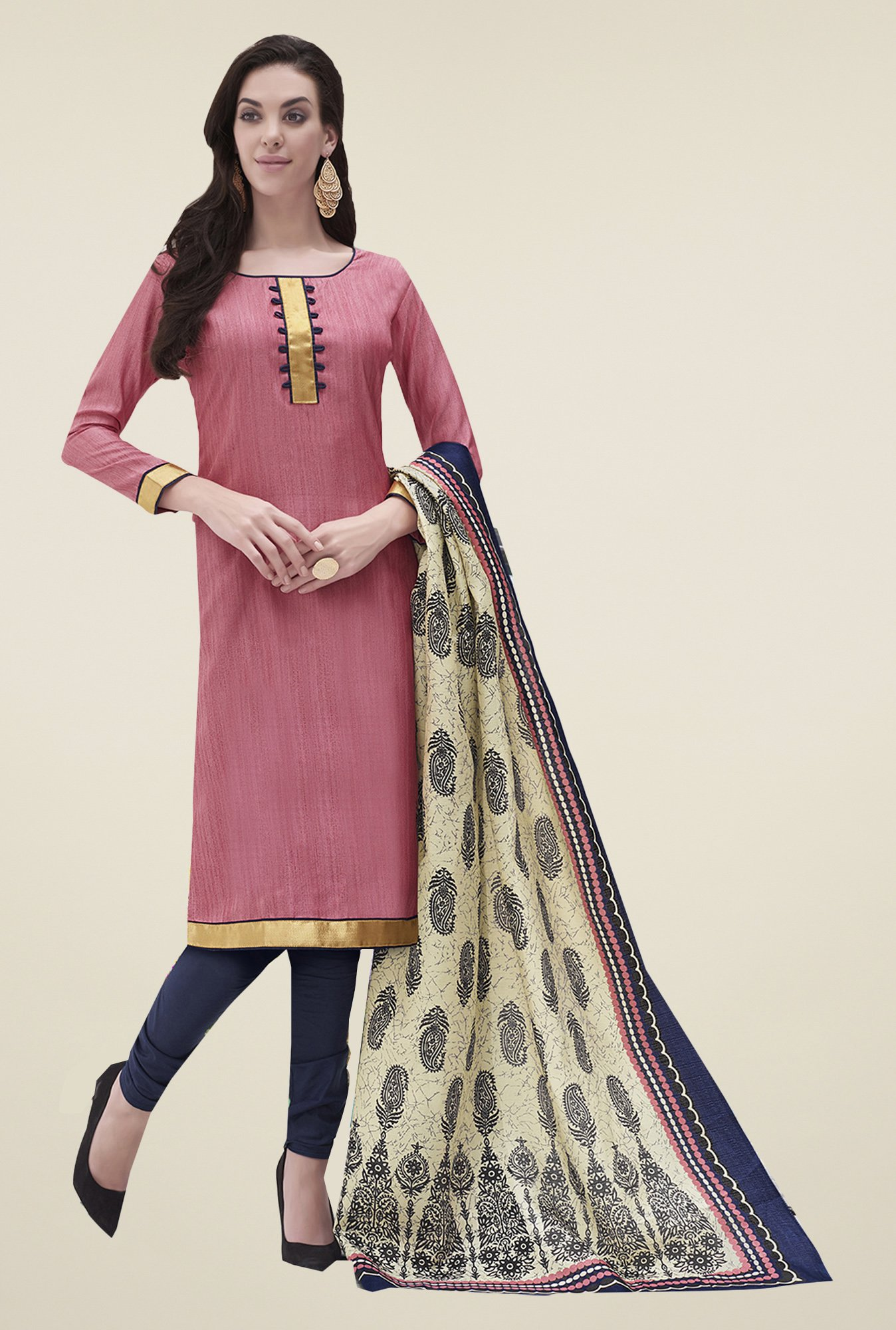 Ishin Pink & Navy Printed Bhagalpuri Silk Dress Material