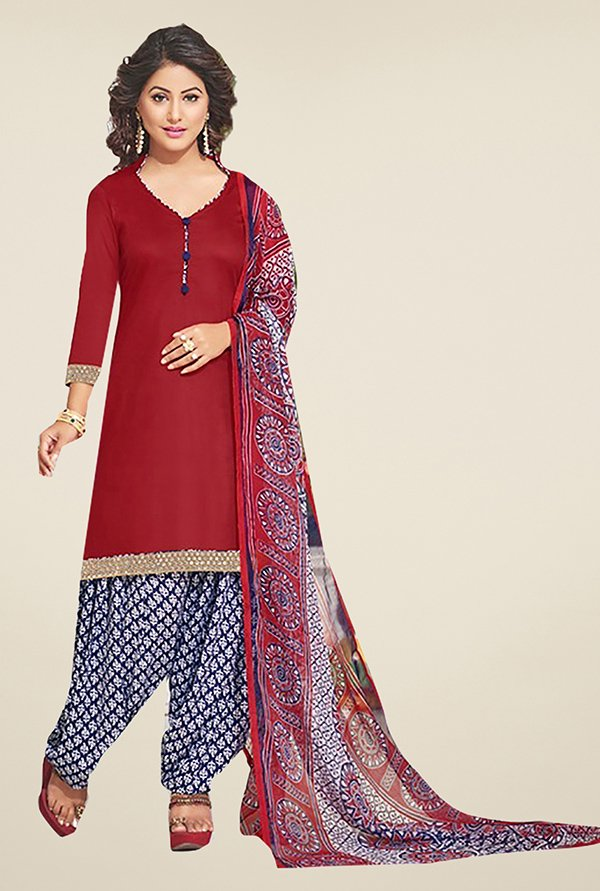 Ishin Red & Blue Solid Cotton Dress Material