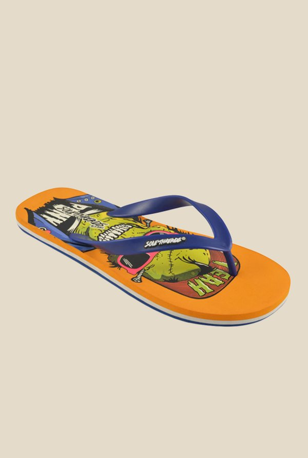 Solethreads Punk Blue & Rust Flip Flops