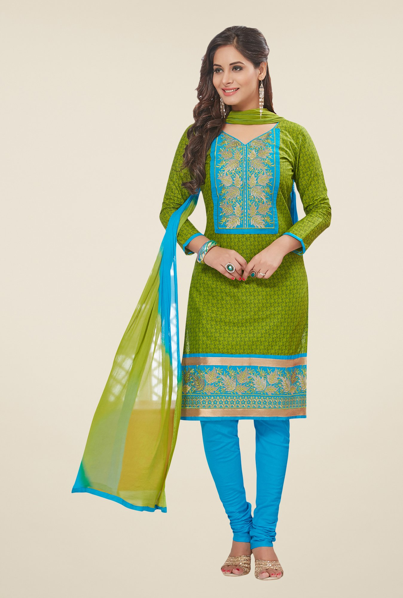 Salwar Studio Green & Blue Printed Dress Material