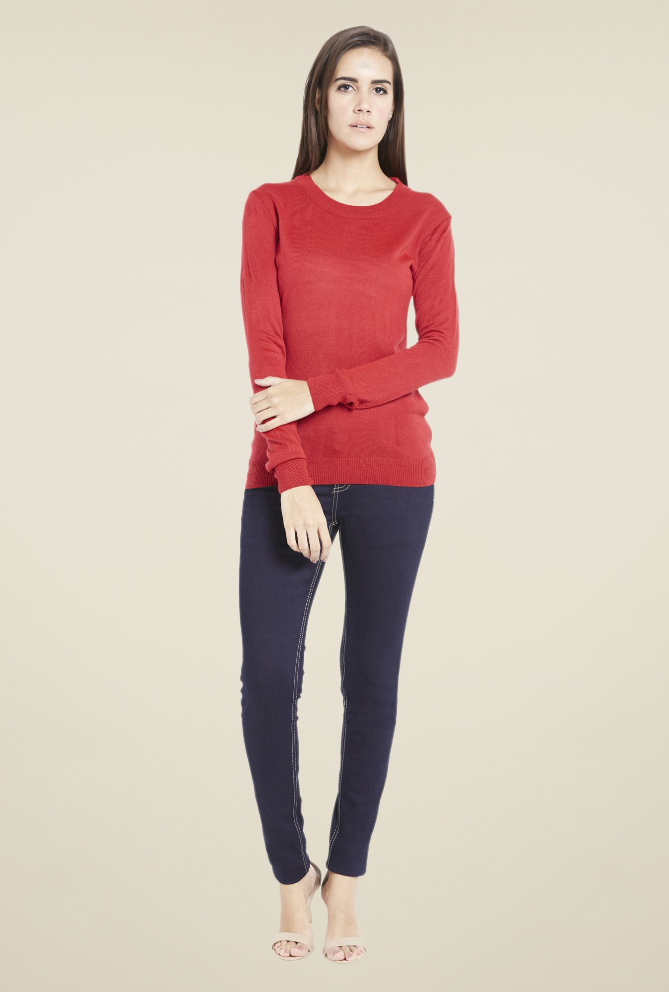 Globus Stunning Red Solid Pullover