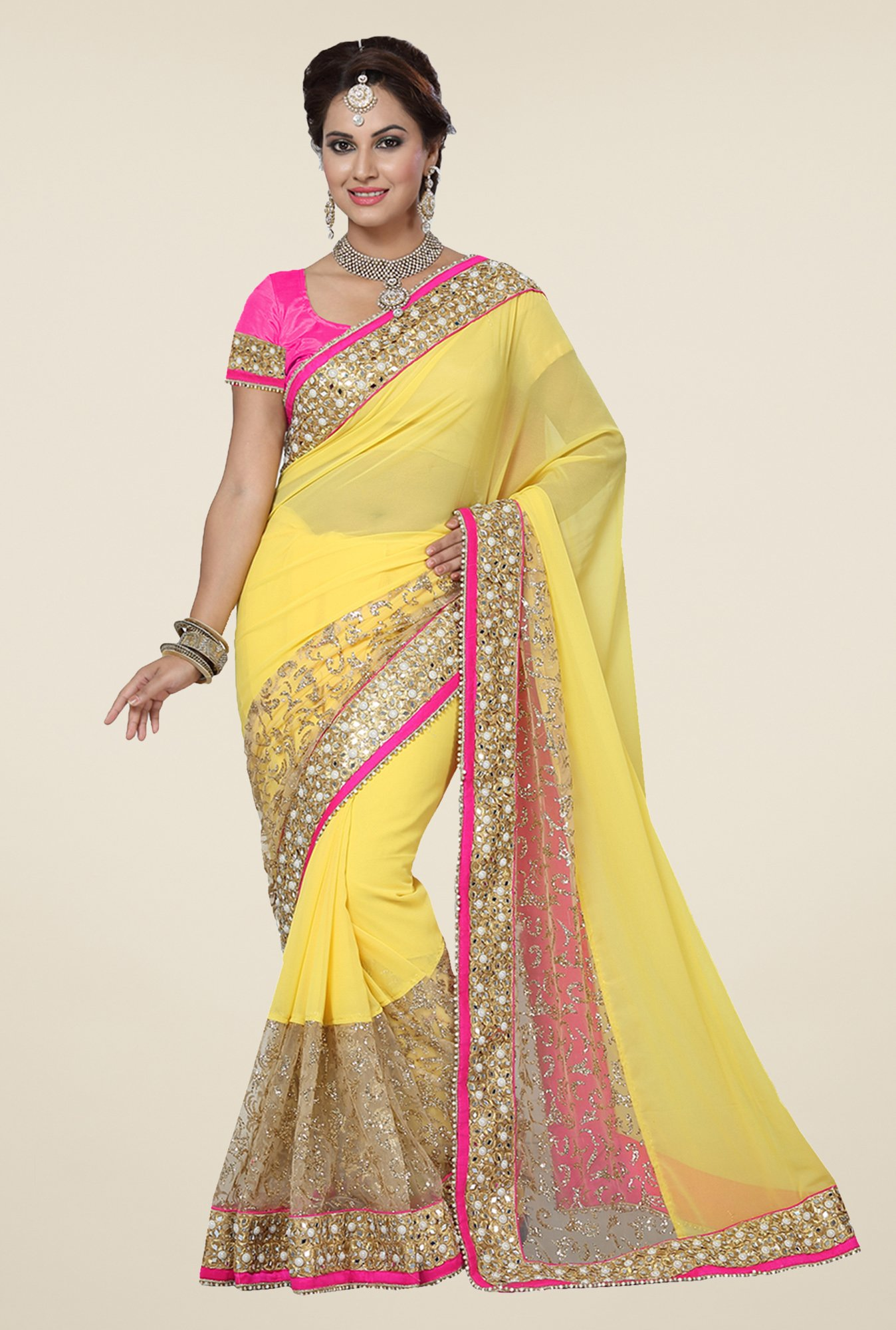 Ishin Yellow Georgette Glitter Saree