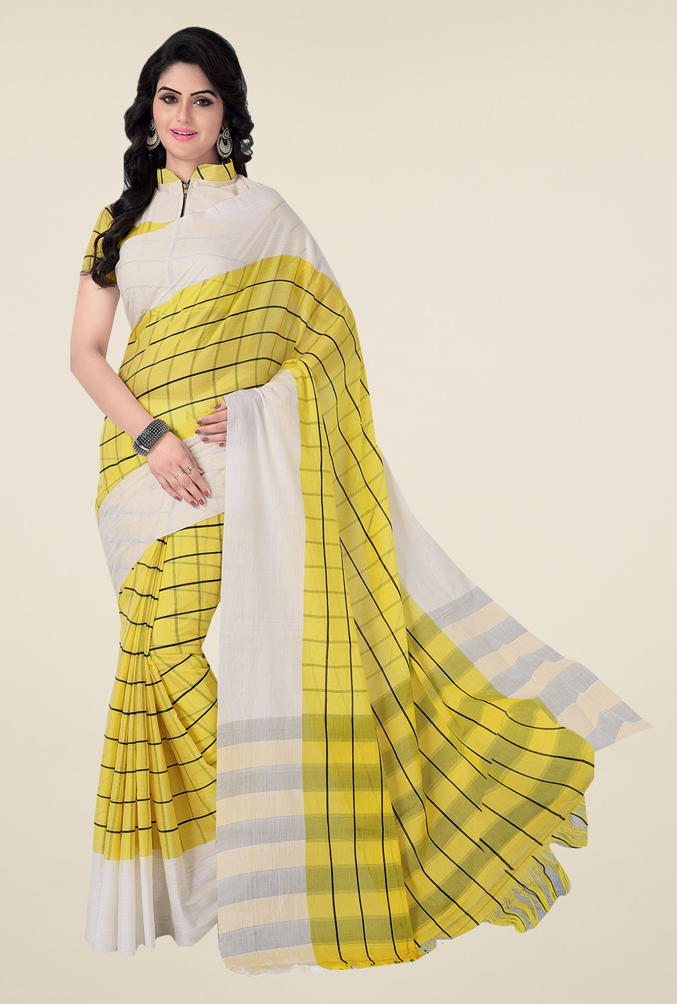 Ishin Yellow & White Checks Poly Cotton Saree