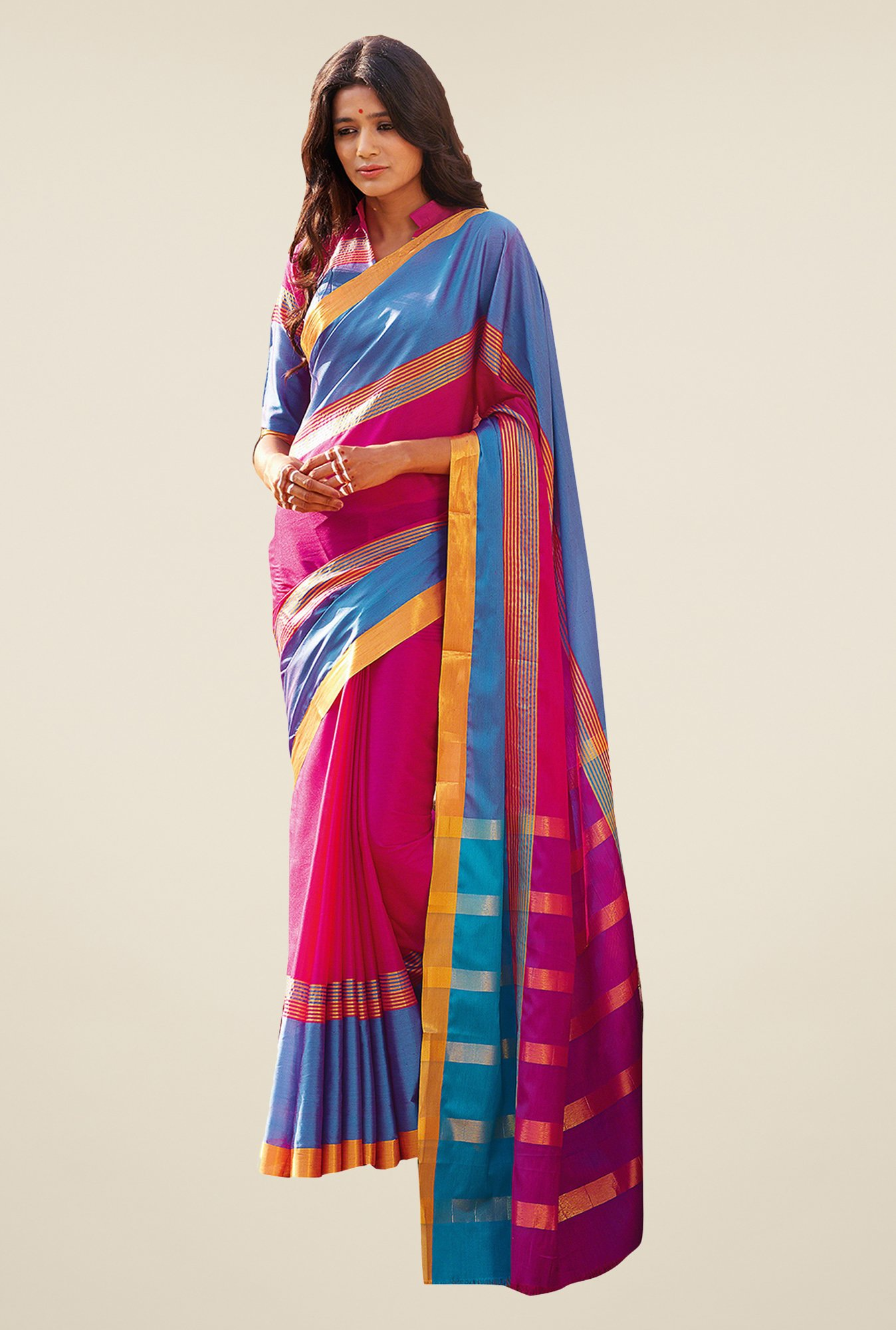 Ishin Pink & Blue Striped Poly Cotton Saree