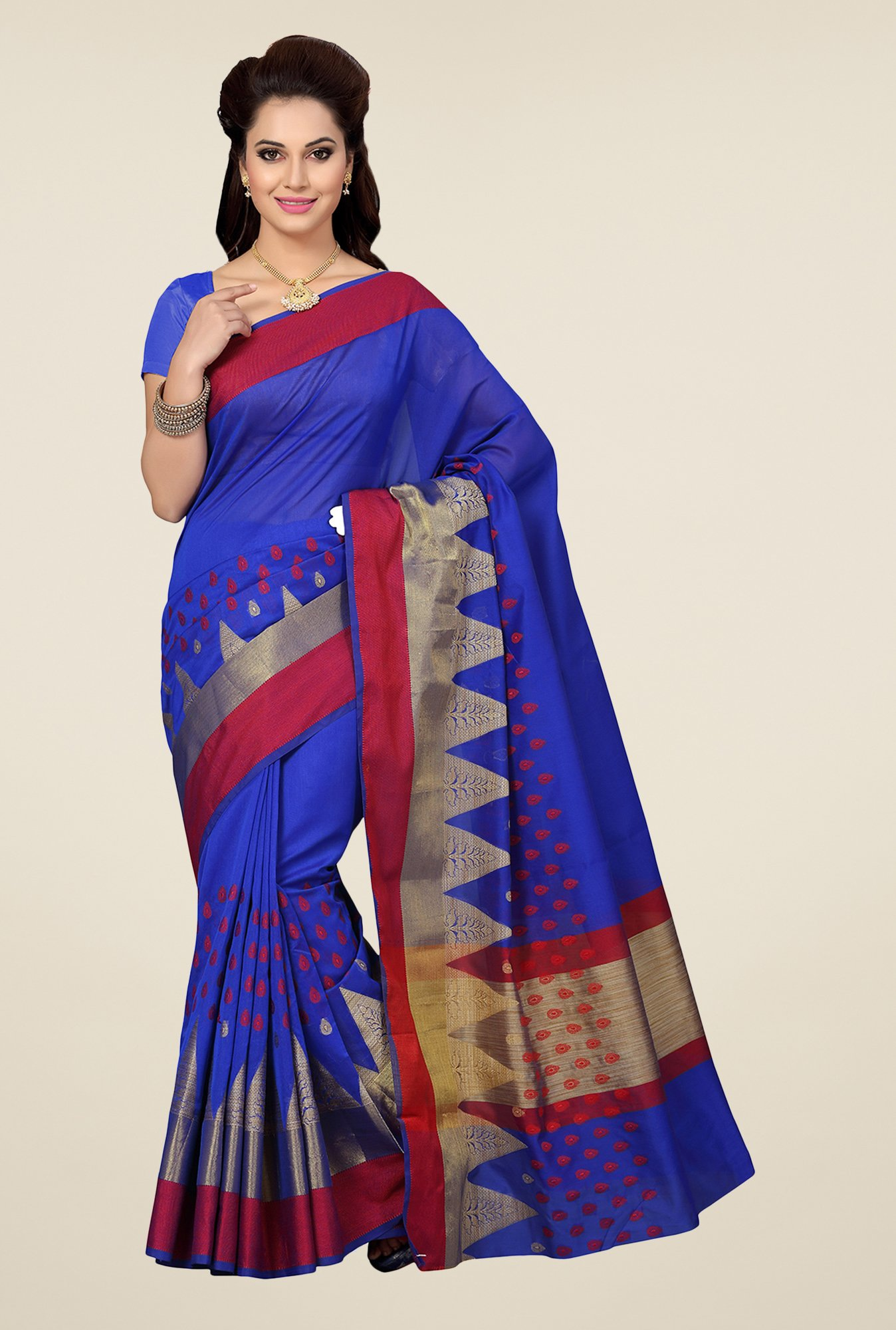 Ishin Blue Embroidered Kora Silk Saree