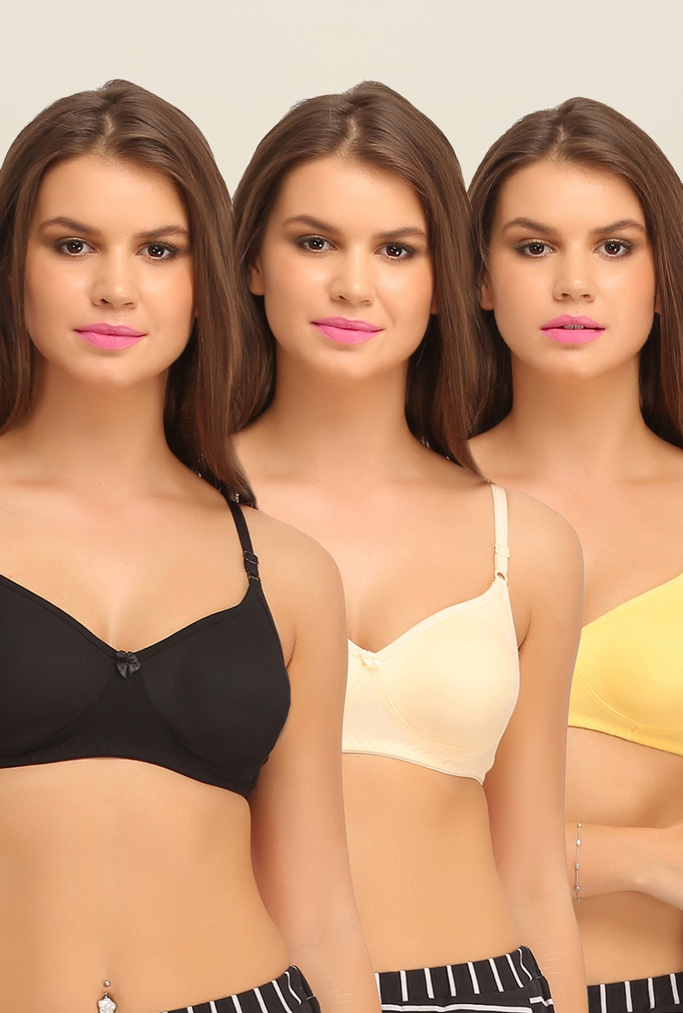 Clovia Black, Beige & Yellow Bra (Pack of 2)