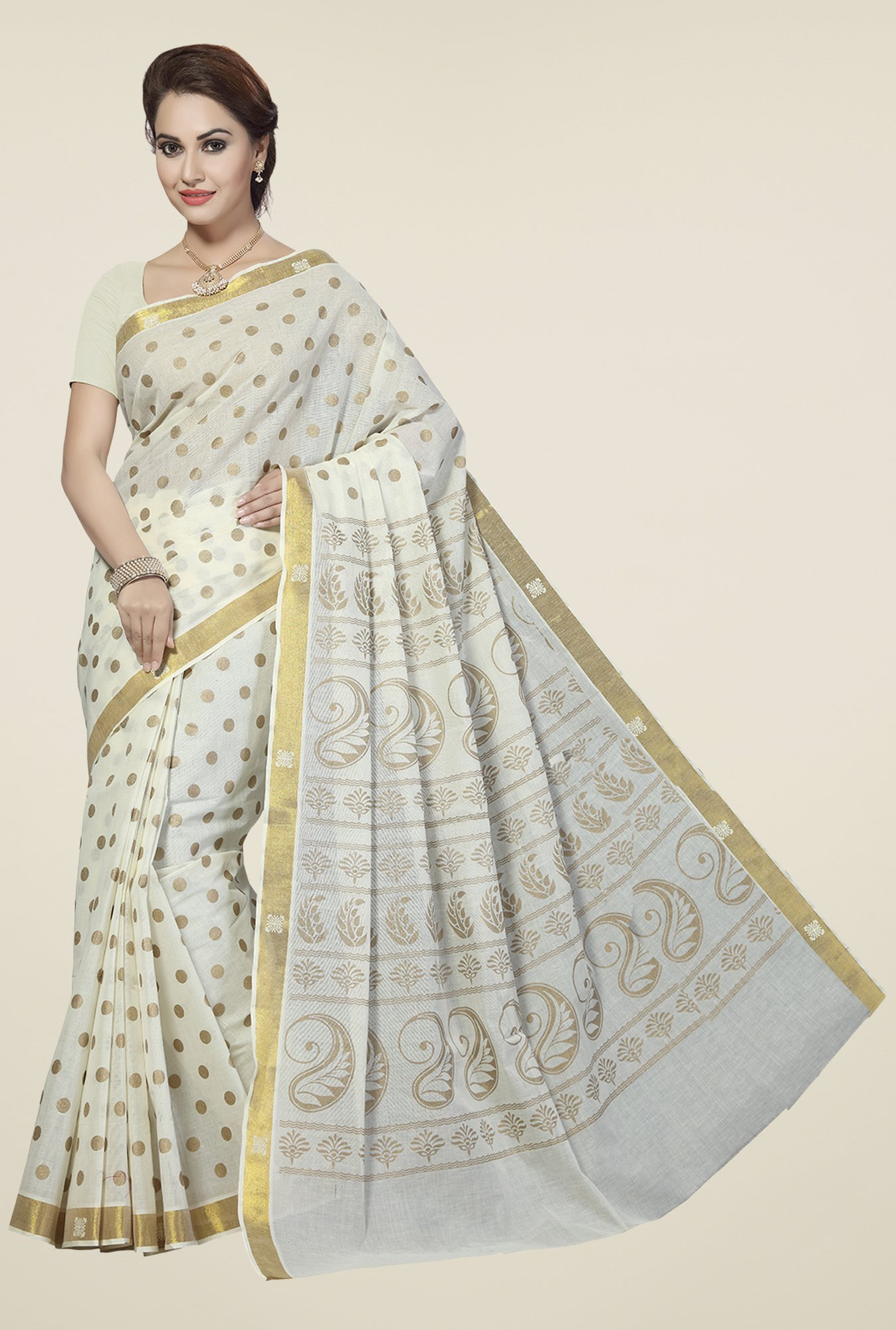 Ishin Off White Printed Poly Cotton Saree
