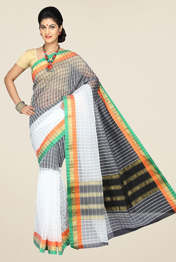 Pavecha's Multicolor Banarasi Cotton Silk Checks Saree