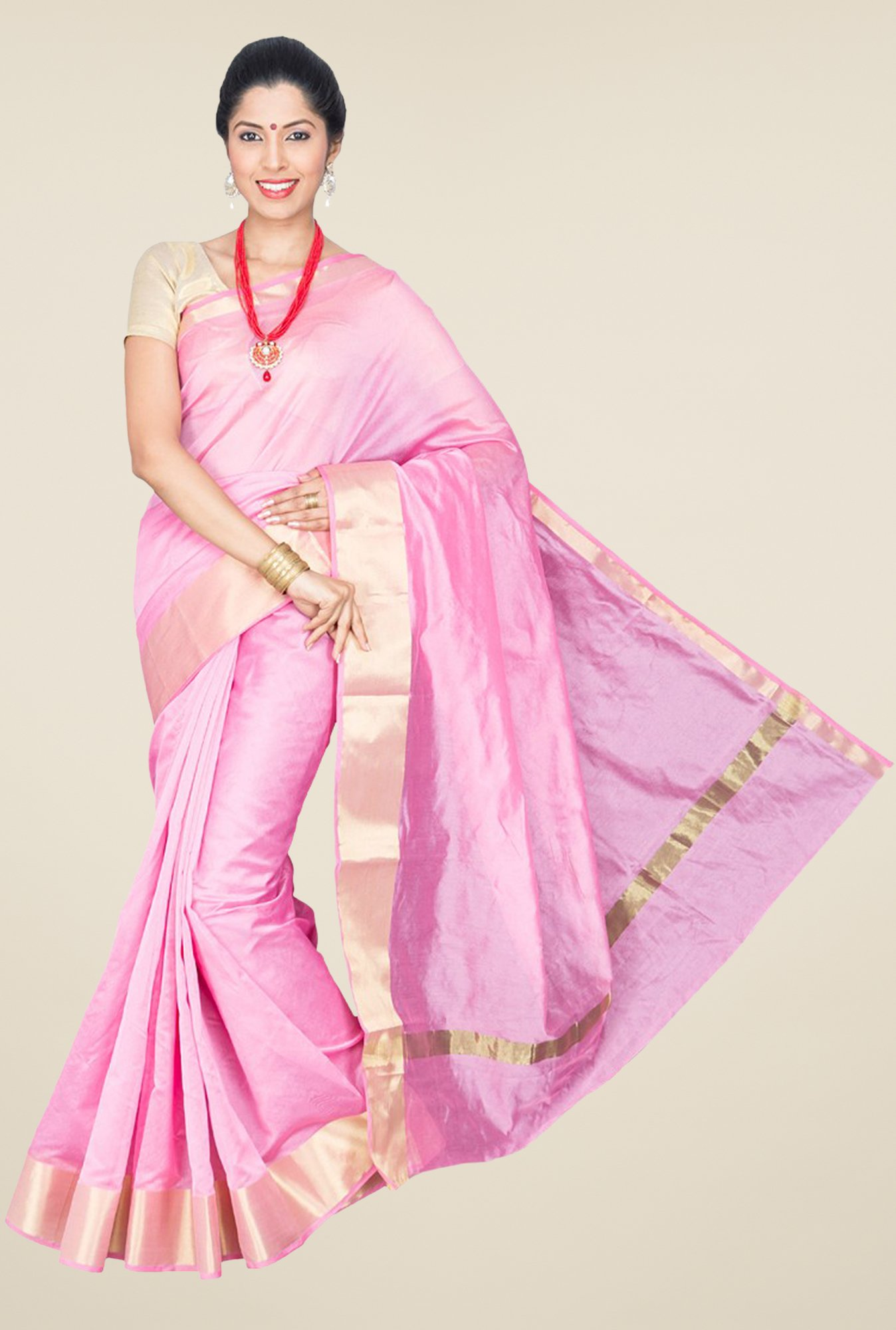 Pavecha's Pink Banarasi Cotton Silk Saree