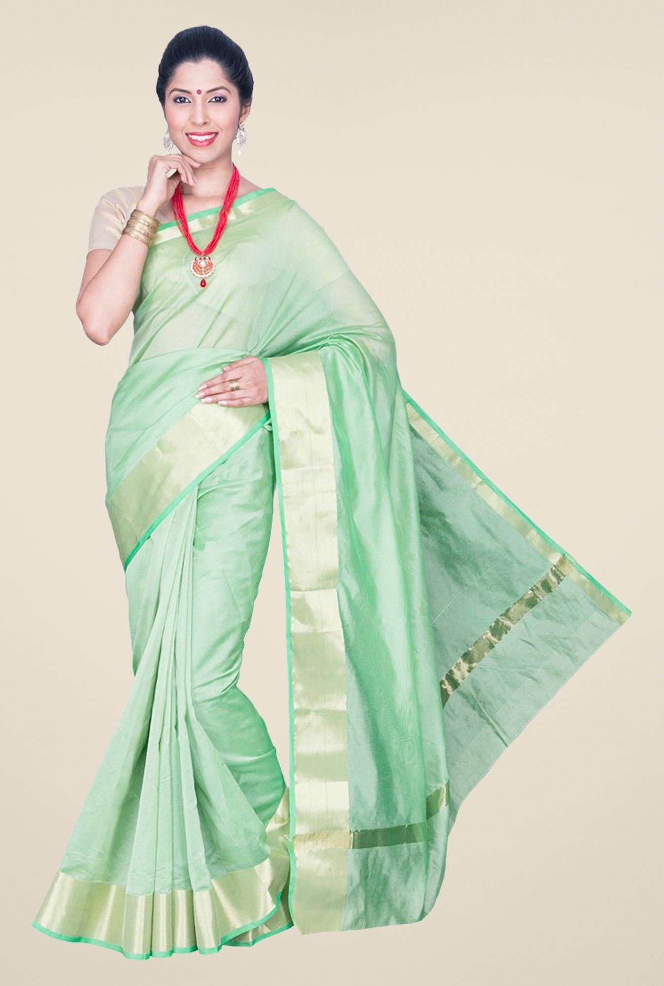 Pavecha's Green Banarasi Cotton Silk Saree